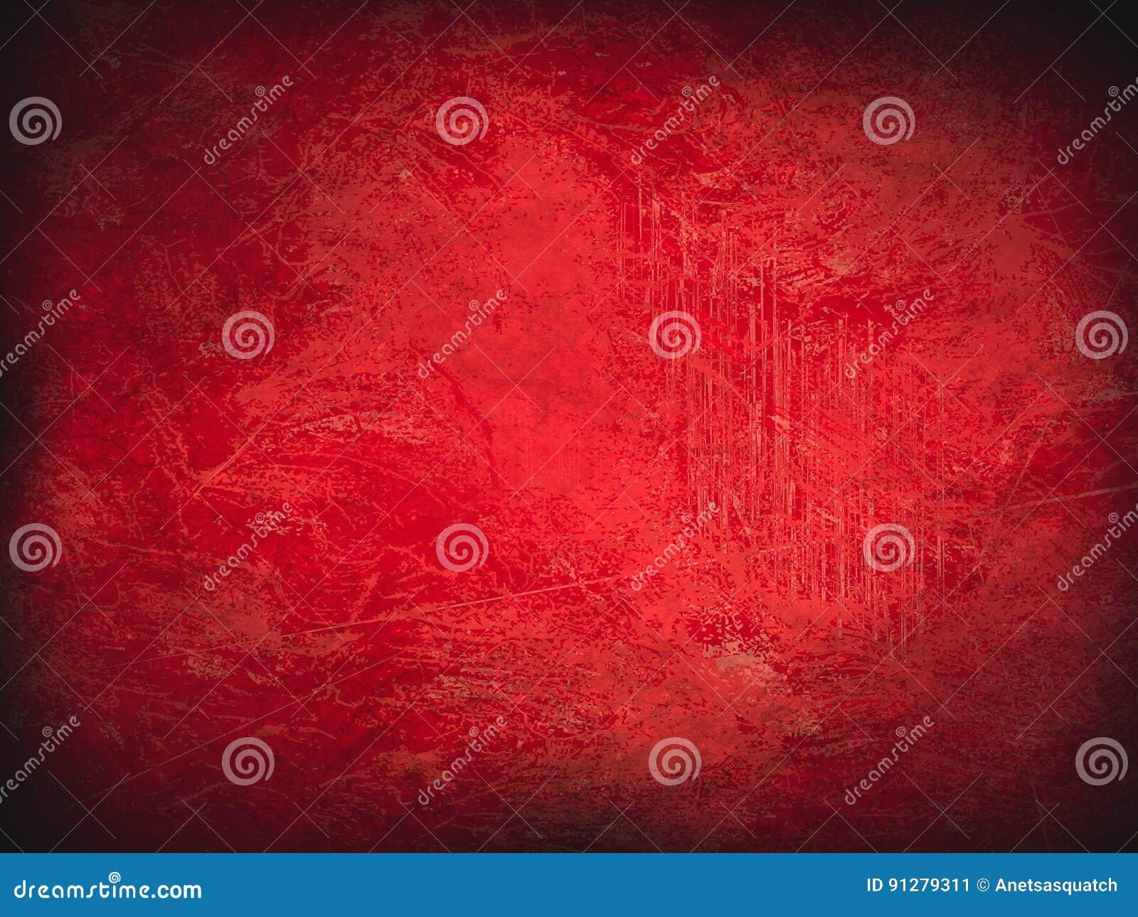 Röd bakgrund för tappningabstrakt begreppgrunge med den ljusa mittstrålkastaren Modern textur med mörka hörn Julpappersstruktur