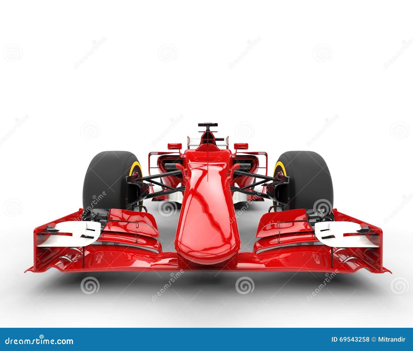 Röd bil- främre sikt för formel en