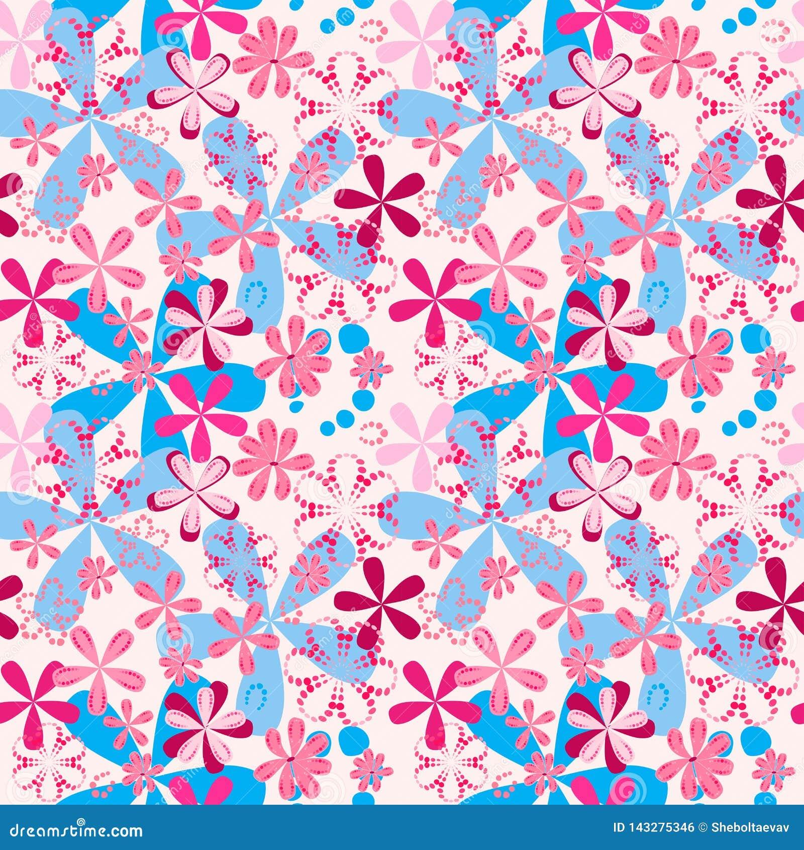 Röd-blått enkla utdragna blommor på en sömlös modell för rosa bakgrundsraster för textiler