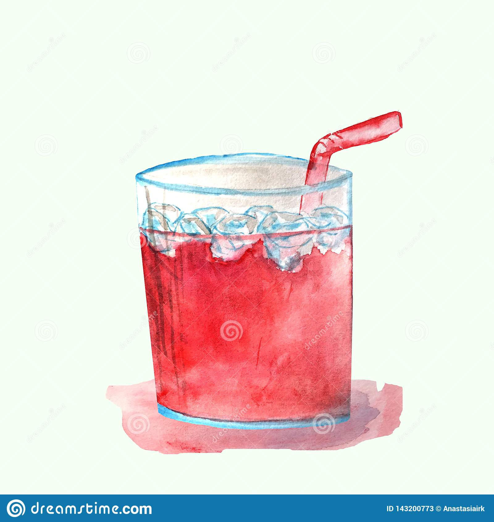 Röd coctail i ett exponeringsglas med is