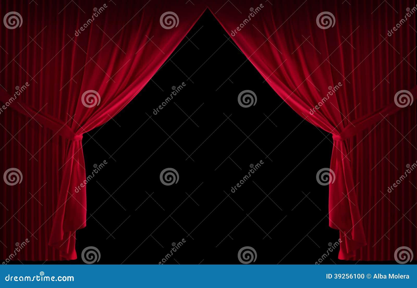 Röd courtain för sammet