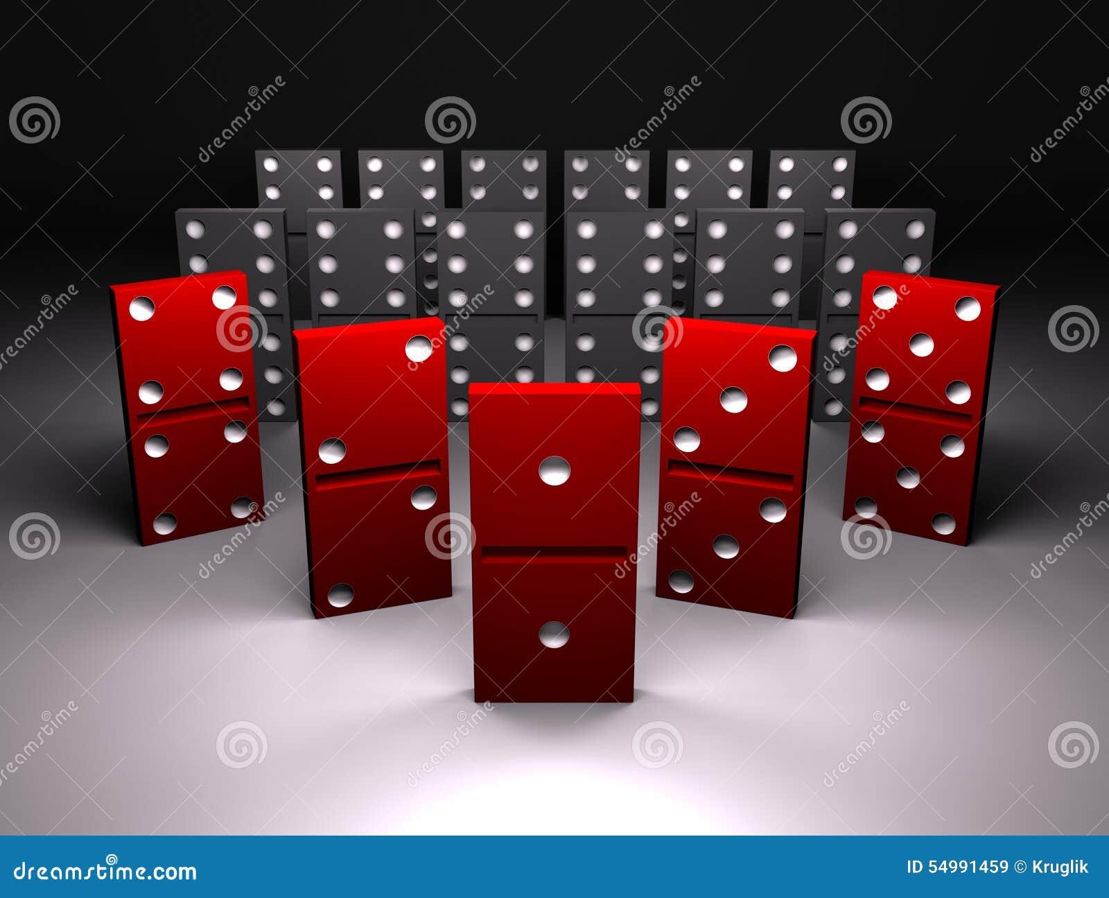 Röd dominobricka