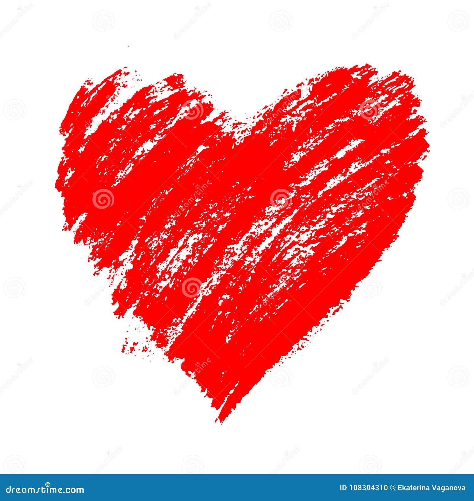 Röd dragen hjärta för grunge hand med färgstänk och borsteslaglängder Symbol av den förälskelse- och för valentin` s dagen Vektor