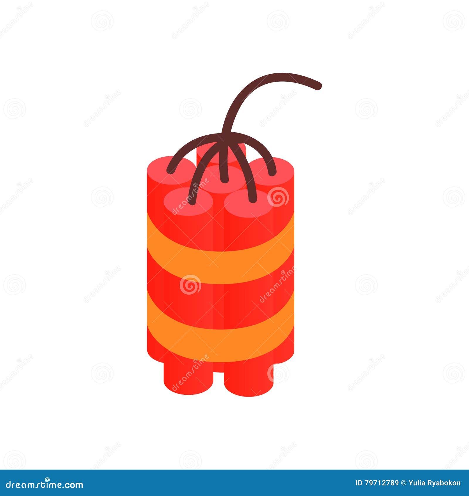 Röd dynamit klibbar den isometriska symbolen 3d
