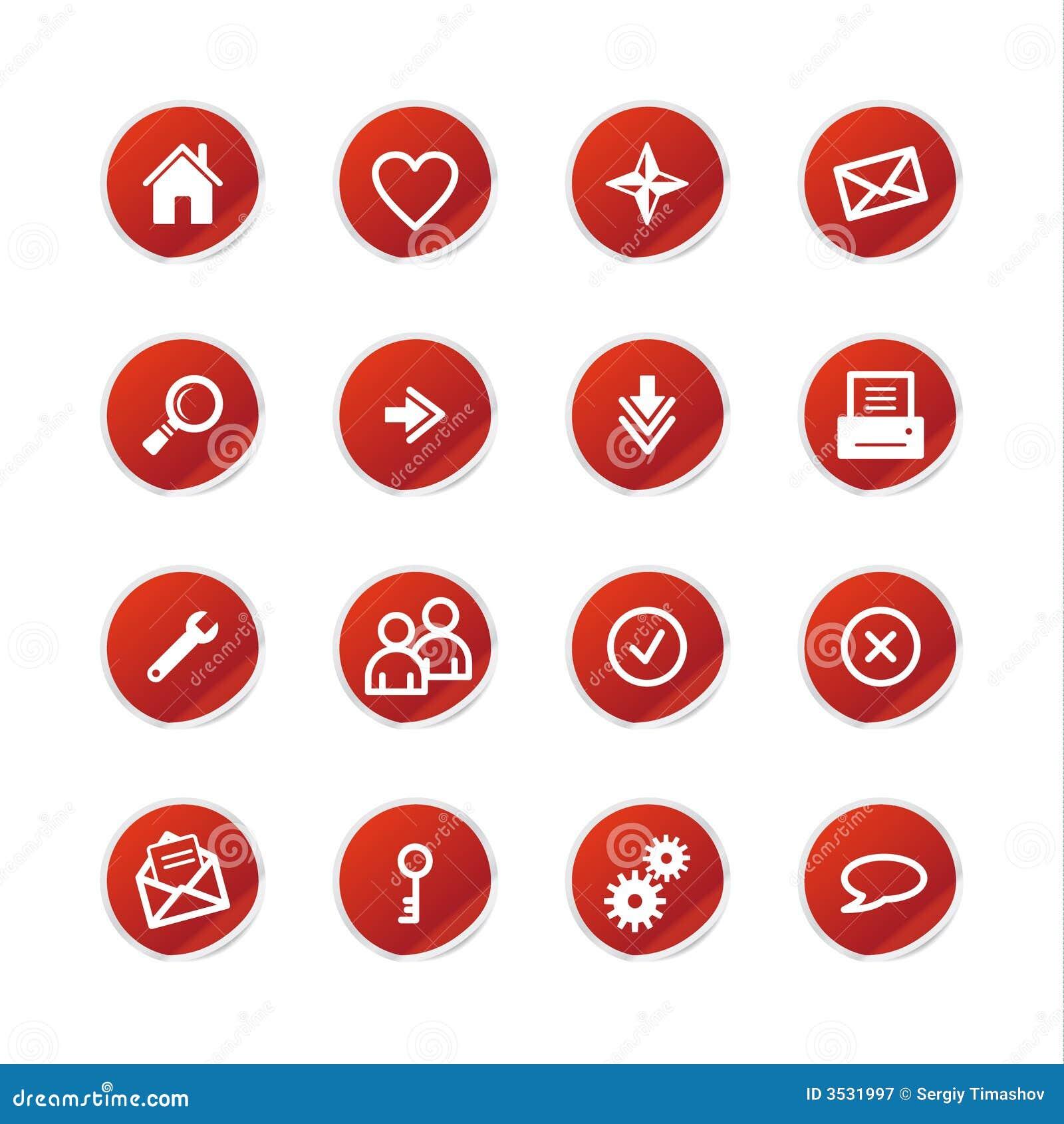 Röd etikettsrengöringsduk för symboler