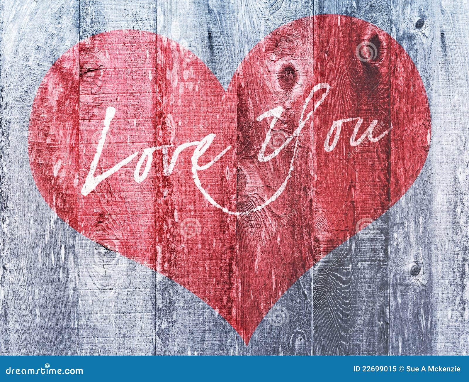 Röd förälskelse för ferie för hjärtavalentindag dig bekymrat trä för hjärtahälsning