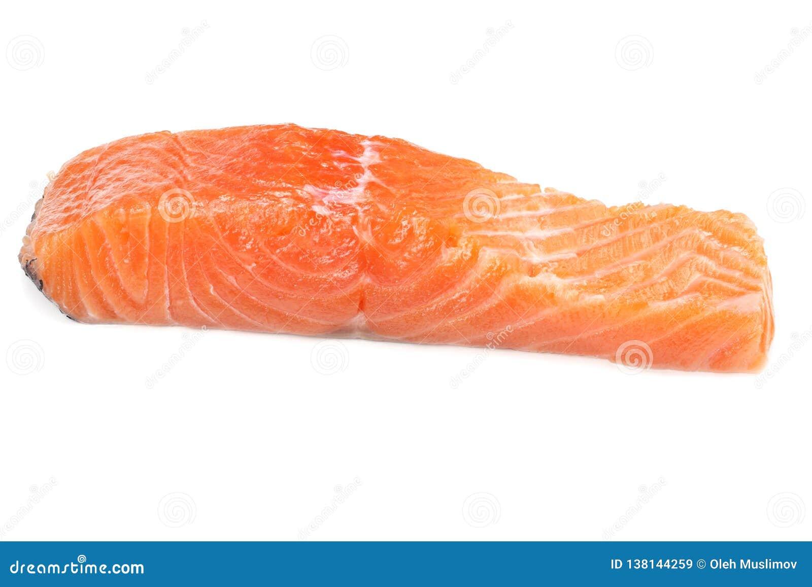 Röd fisk Rå laxfiléisolat på vit bakgrund