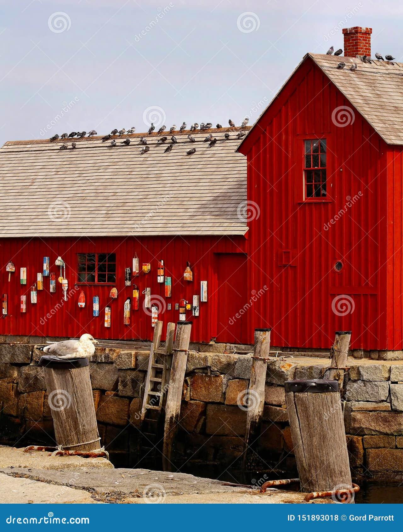 Röd fiska hydda i hamnen