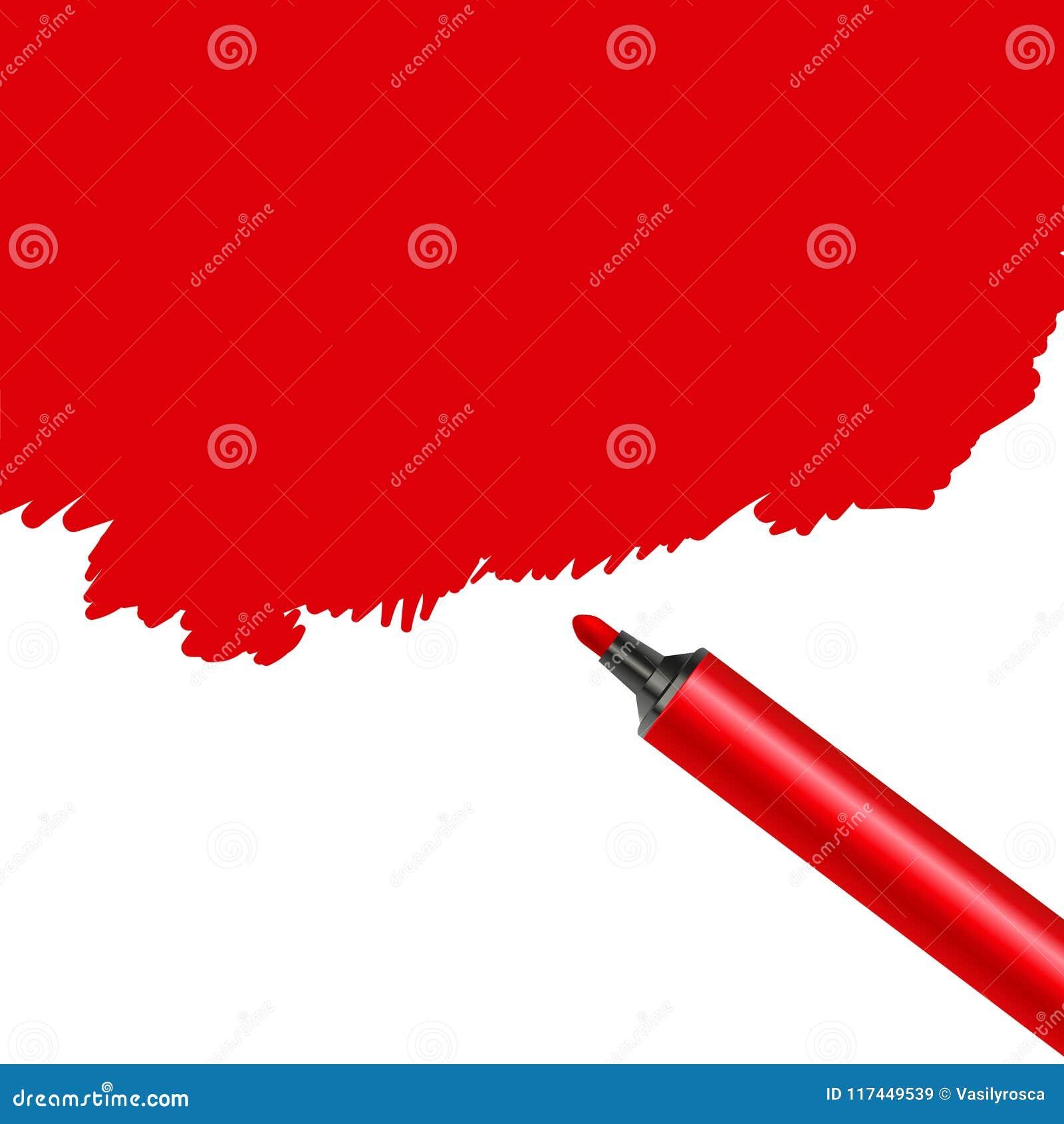 Röd fläck för markörpenna som isoleras på en vit bakgrund Klottra konstnärligt konstverk för fläck