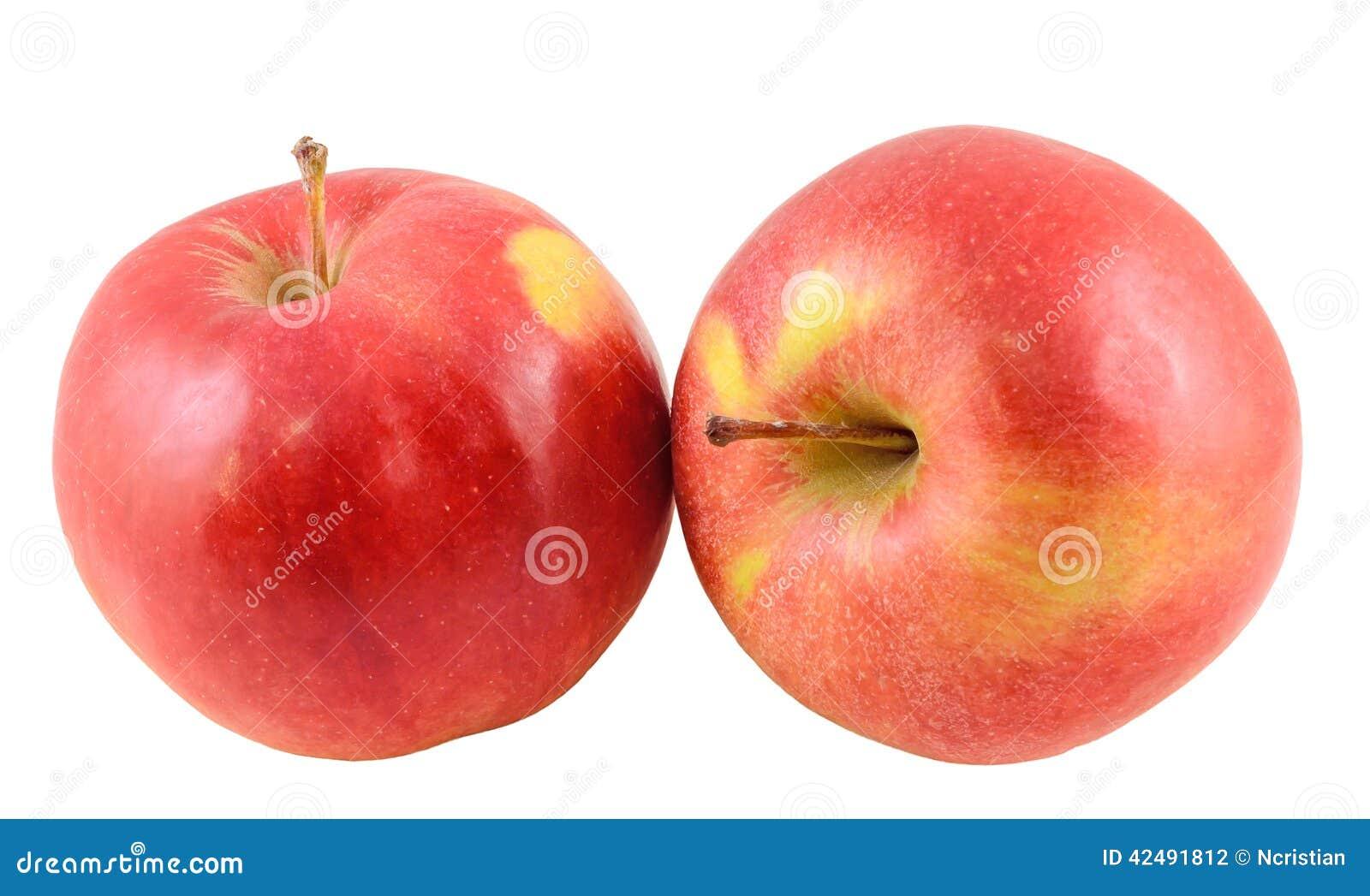Röd-guling Jonathan äpplen som isoleras