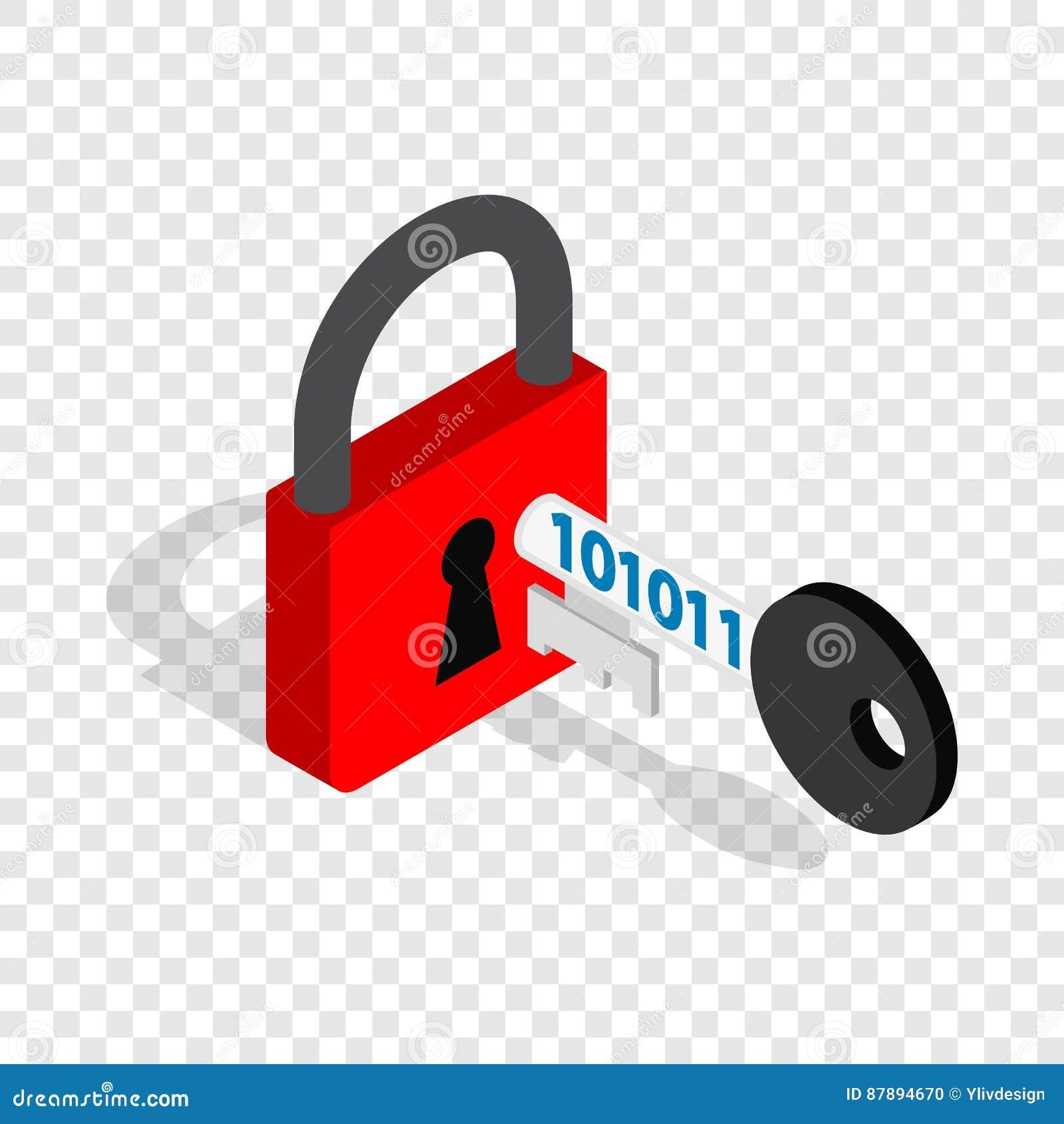 Röd hänglås och nyckel- isometrisk symbol