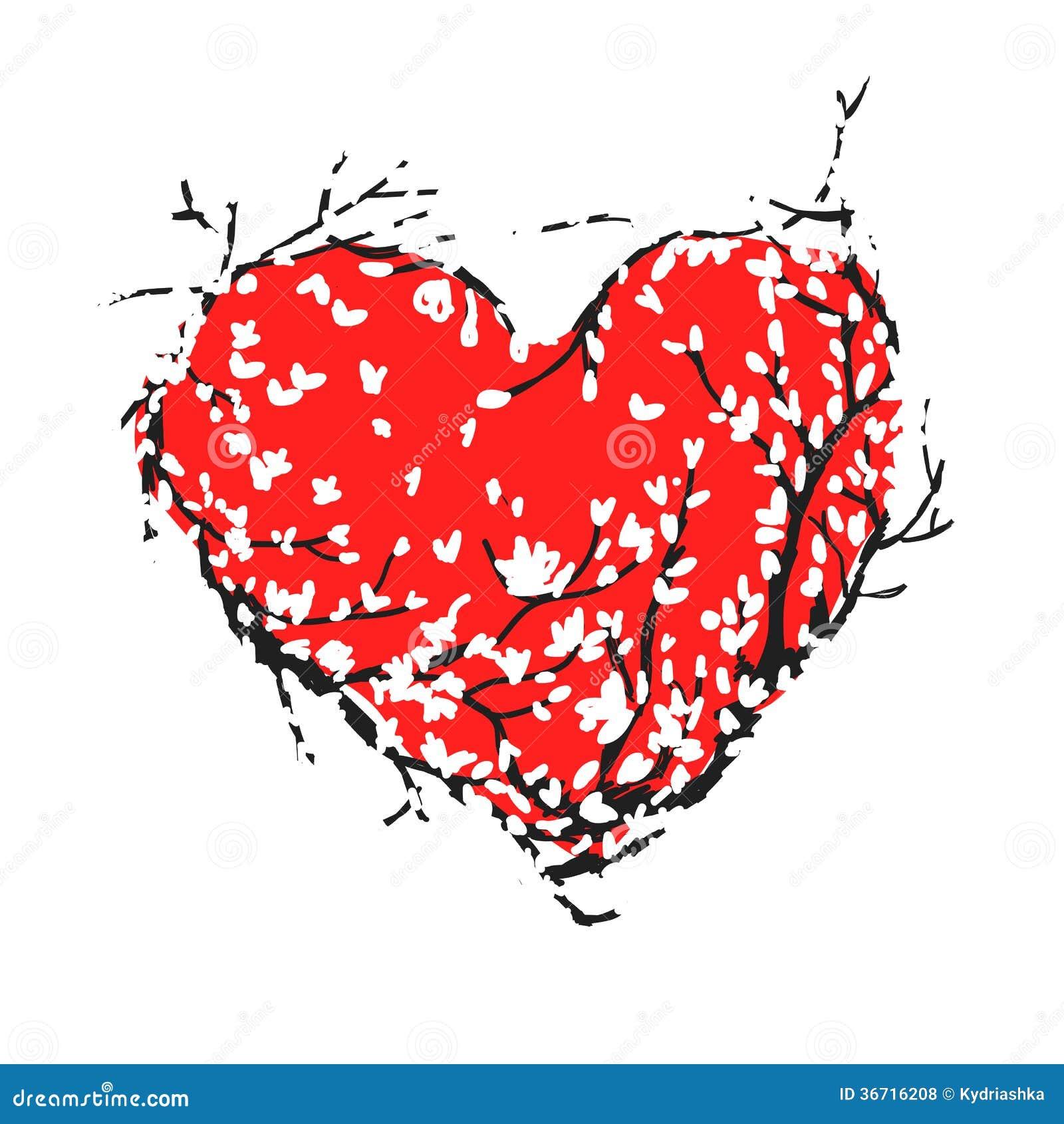 Röd hjärta för valentin som göras från det sakura trädet för ditt