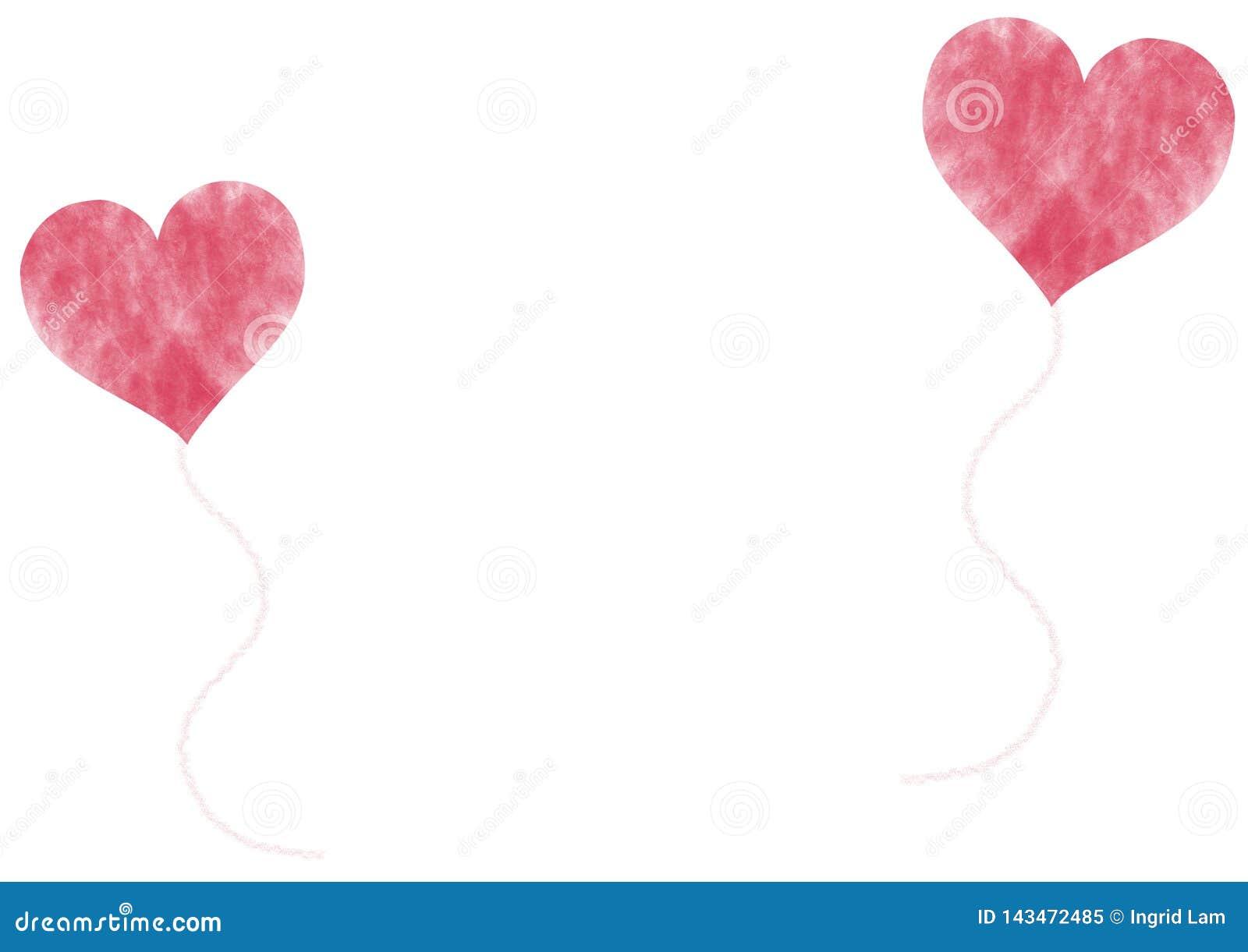 Röd hjärta formade ballonger på vit bakgrund