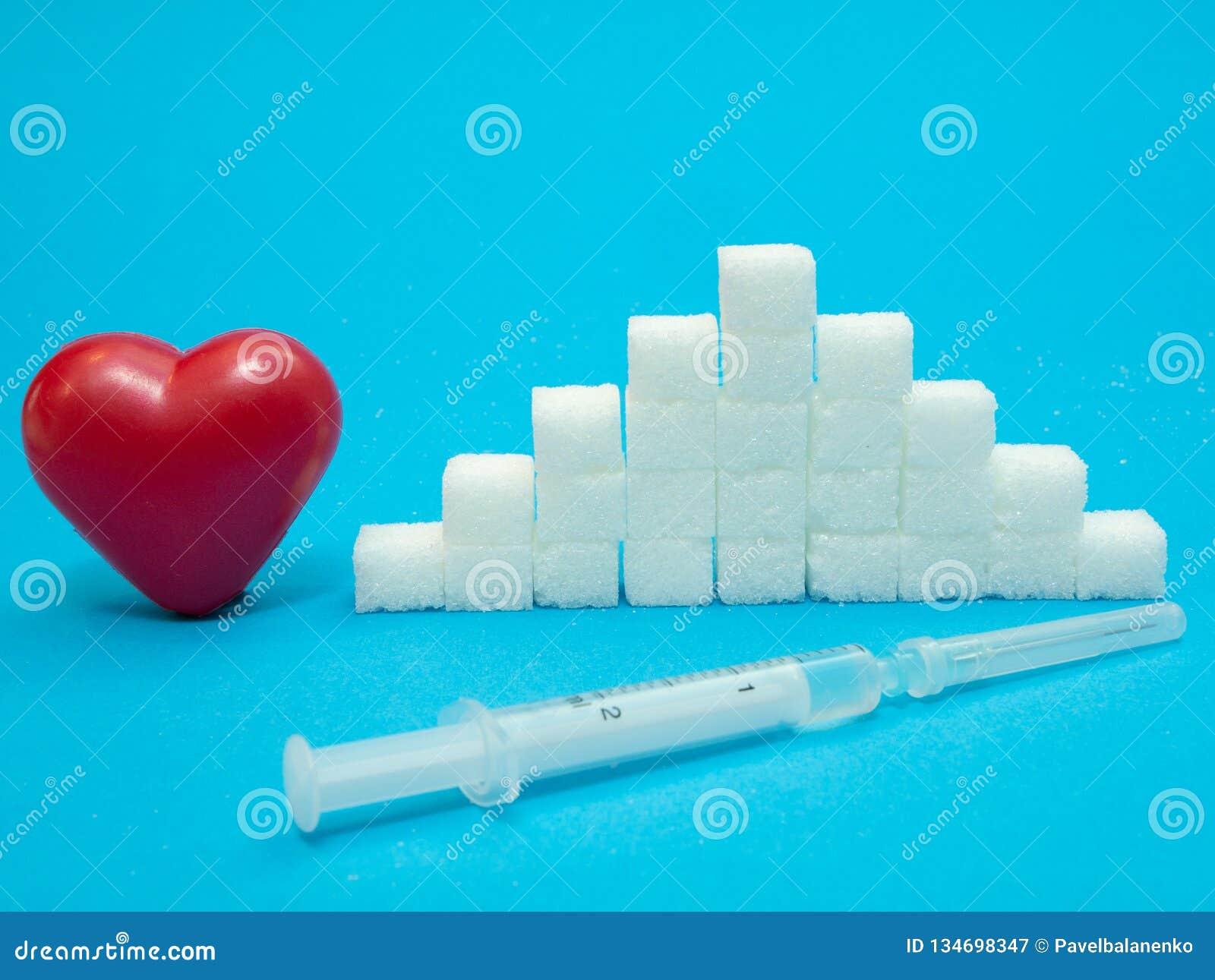 Röd hjärta, hög av kuber för vitt socker, injektionsspruta med insulin