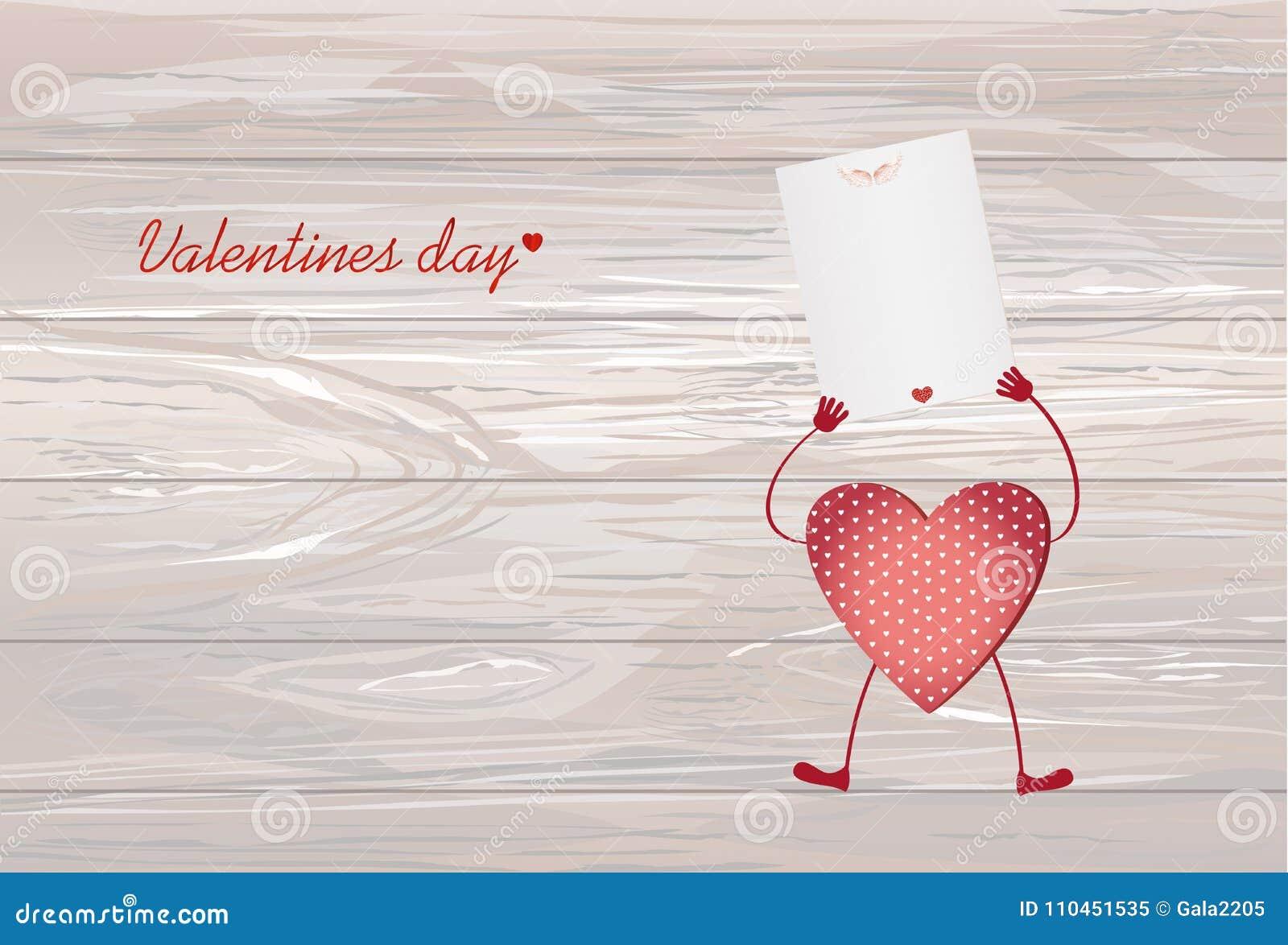 Röd hjärta med ben och händer som rymmer den tomma tomma sidan för ditt