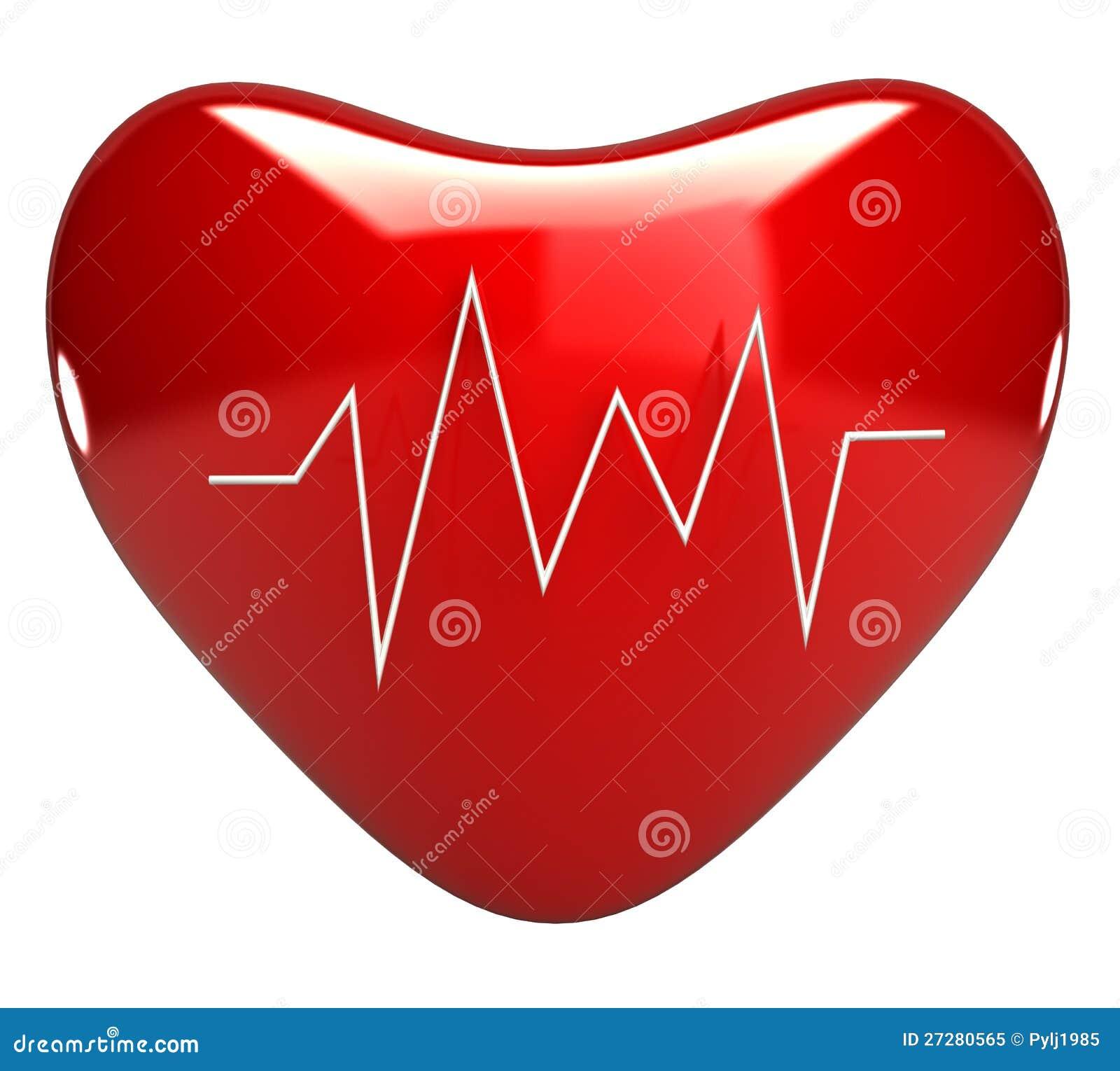 Röd hjärta med cardiogramen 3d