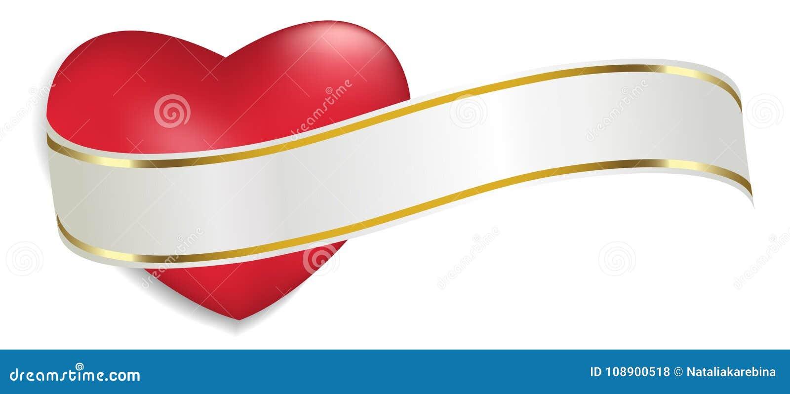Röd hjärta med det vita och guld- bandet som isoleras på vit bakgrund Garnering för dag och annan för valentin` s semestrar vekto
