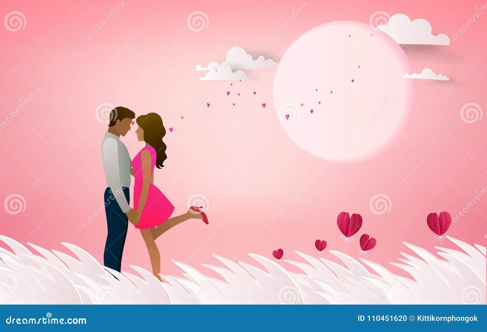 Röd hjärtablomma på rosa bakgrund med par som kysser på honen