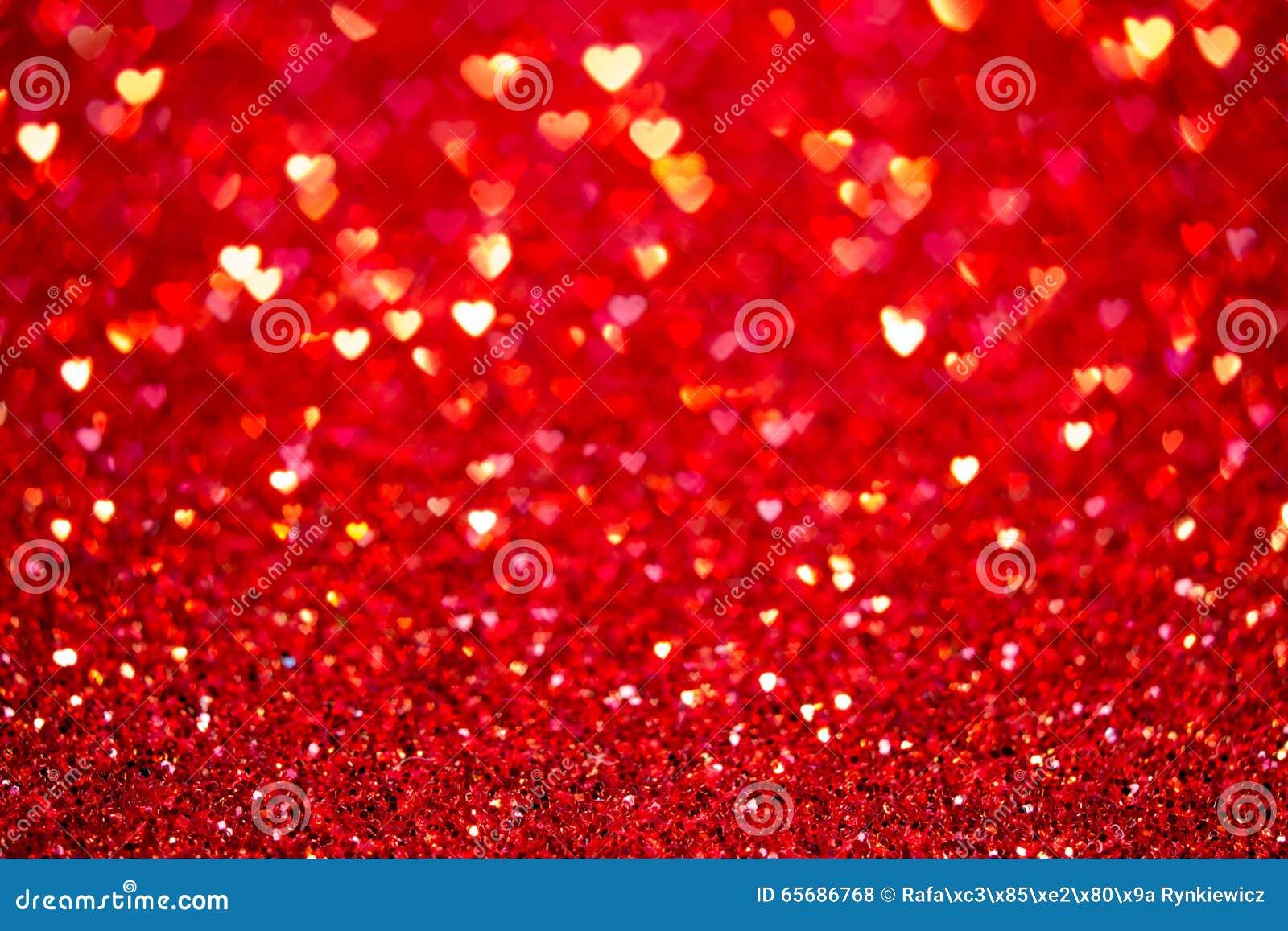 Röd hjärtabokehbakgrund Valentindagtextur