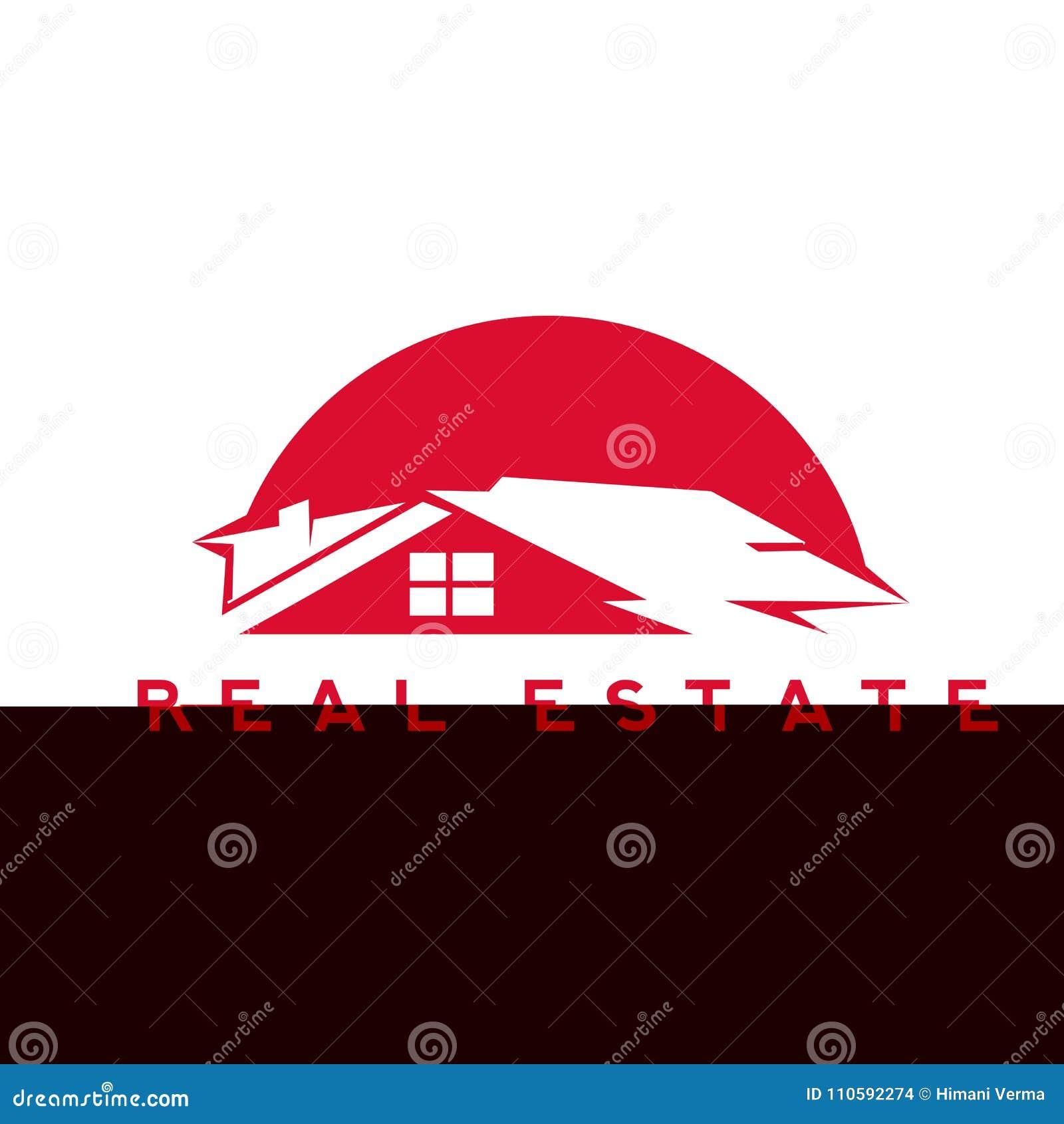 Röd illustration för fastighethusvektor