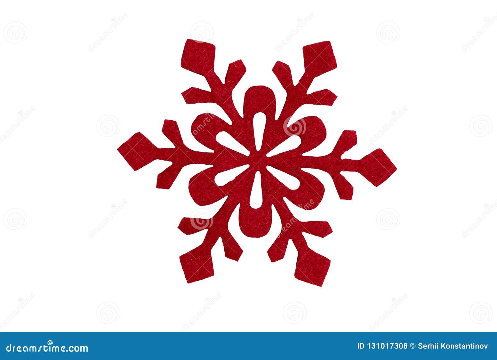 Röd julsnöflinga Isolerat på vit Designbeståndsdel för c