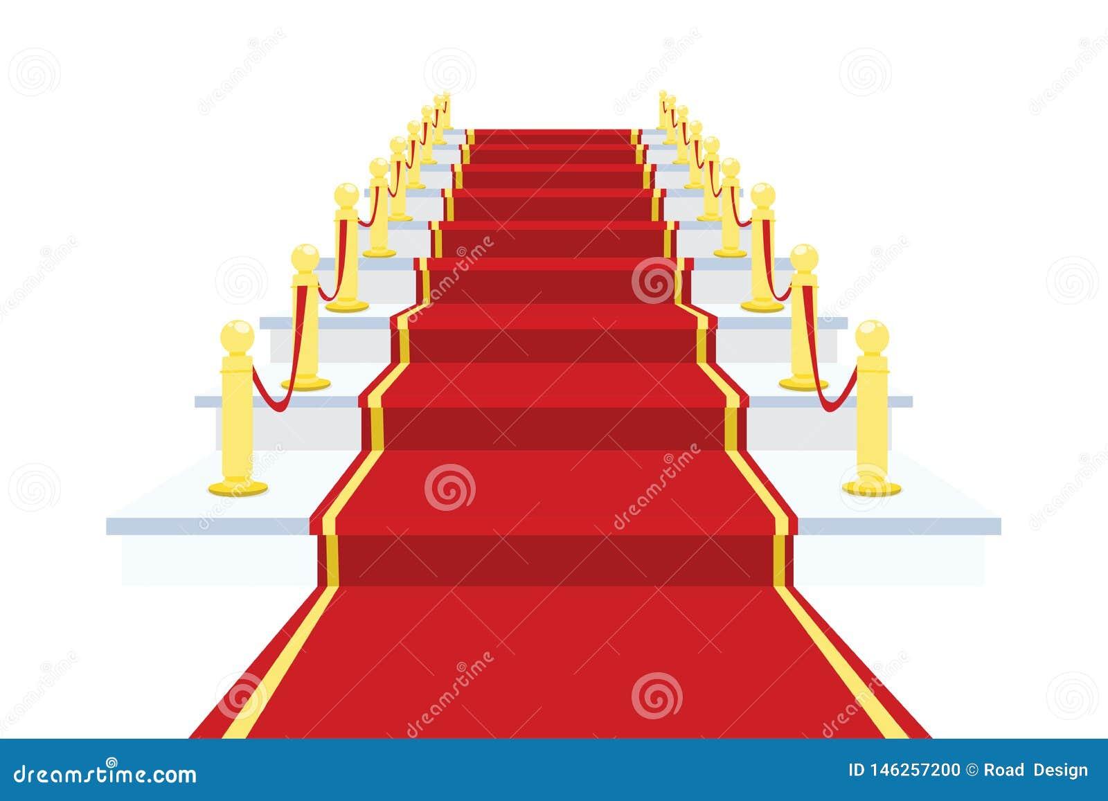 Röd matta på trappuppgångvektorillustration