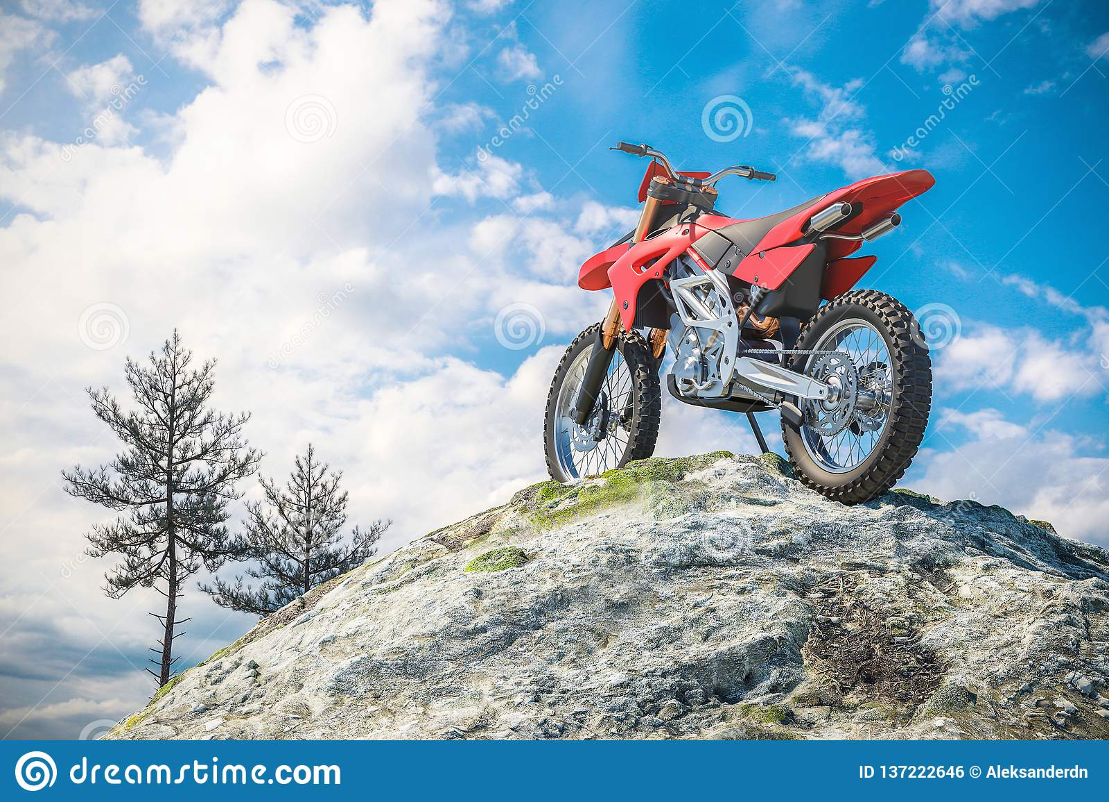 Röd motorcykel överst av berglandskapet 3d