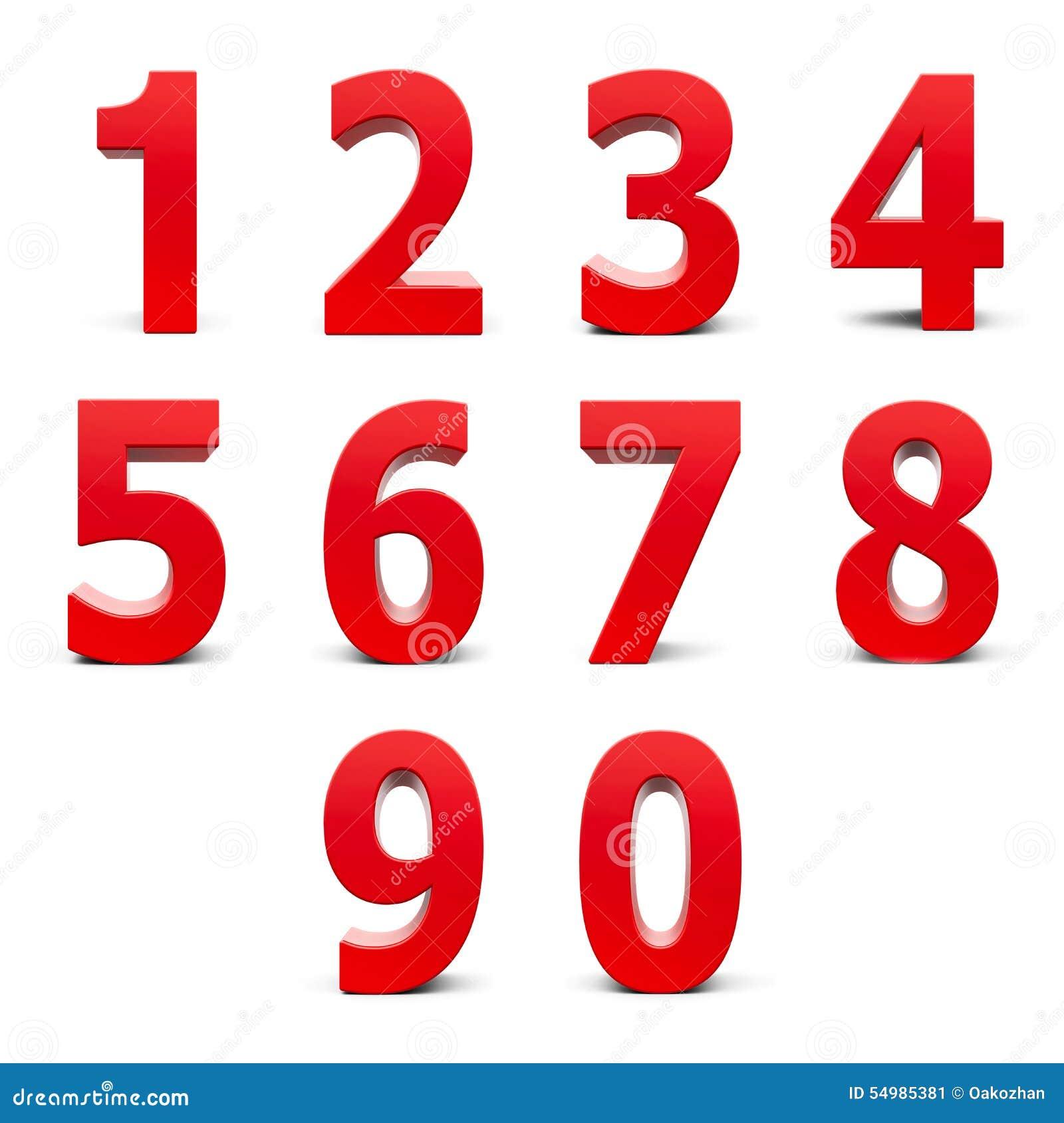 Röd nummeruppsättning