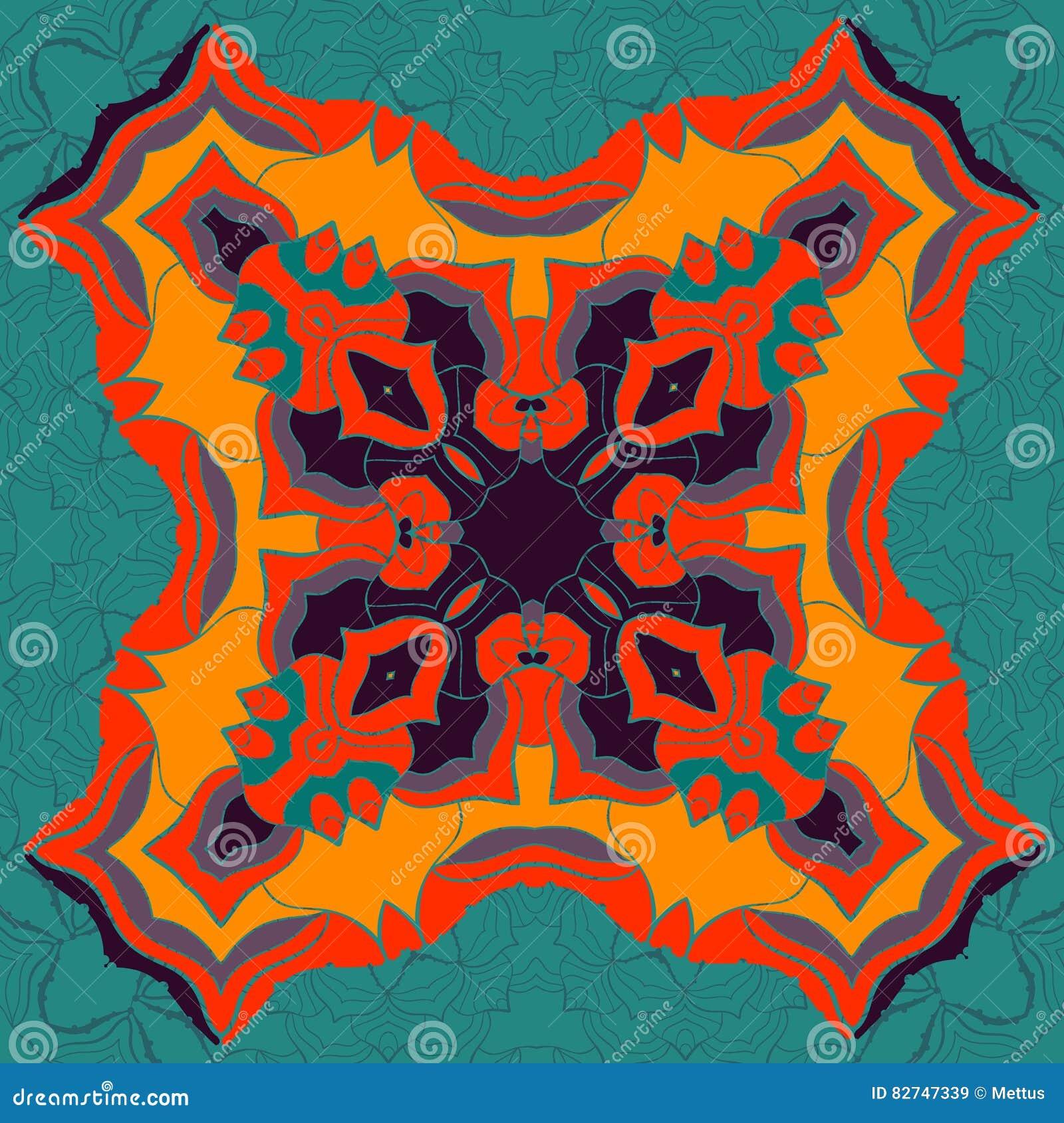 Röd och gul mandalaprydnad över sömlös bakgrund för symmetri Dekorativ rund prydnad för att färga anti--spänning