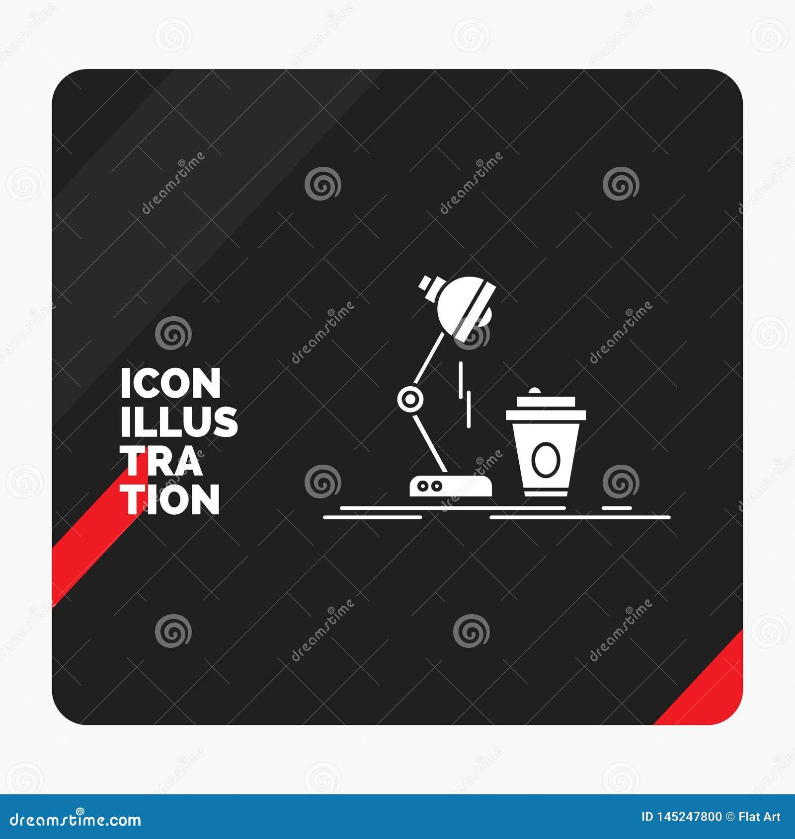 Röd och svart idérik presentationsbakgrund för studio, design, kaffe, lampa, prålig skårasymbol