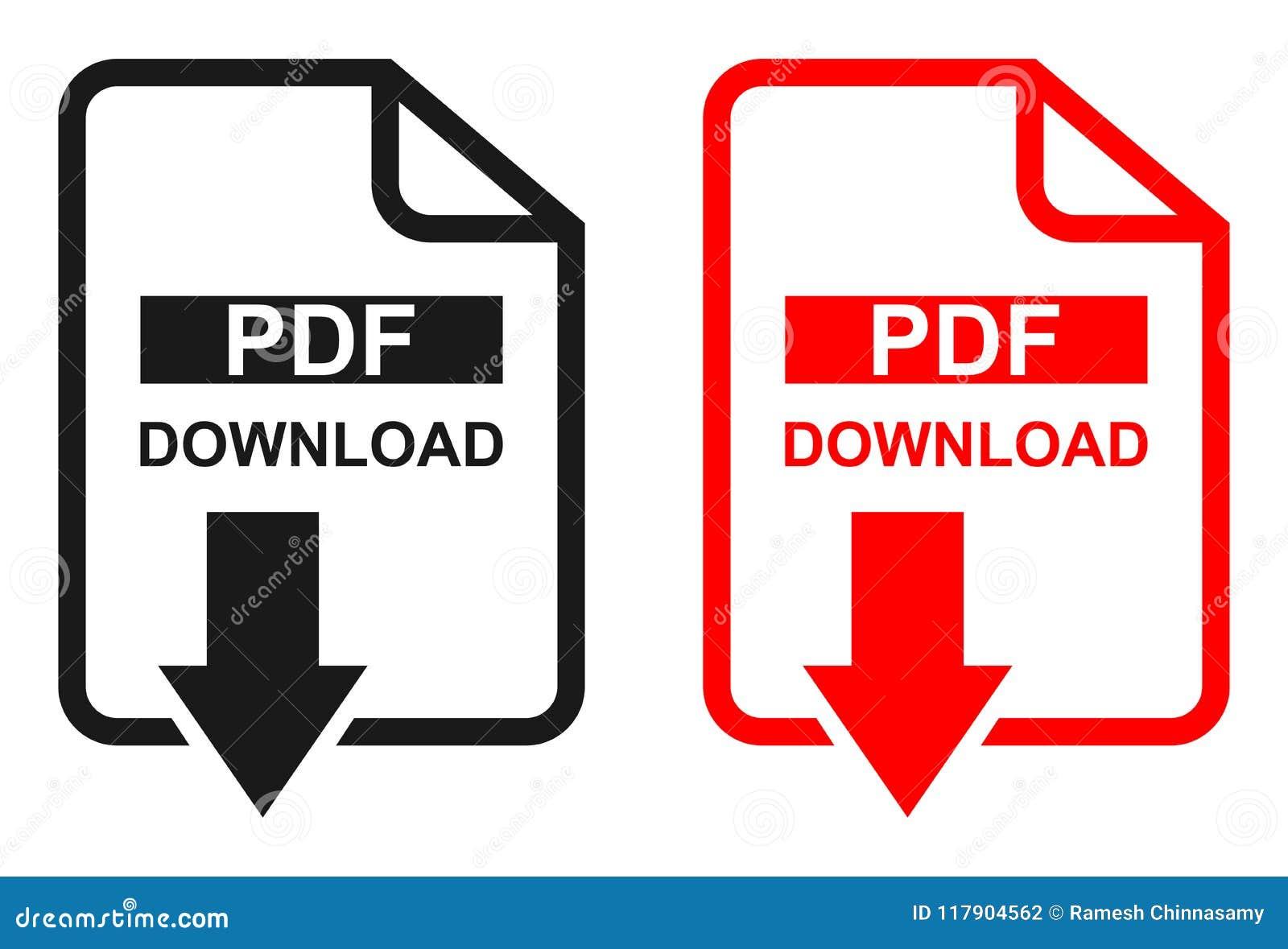 Röd och svart symbol för nedladdning för färgPdf-mapp