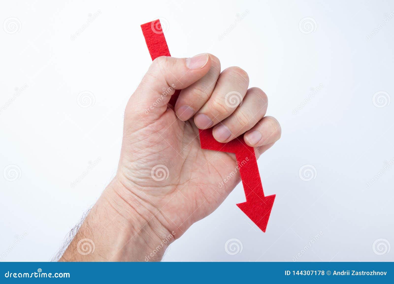 Röd pil i handen, begrepp av fel