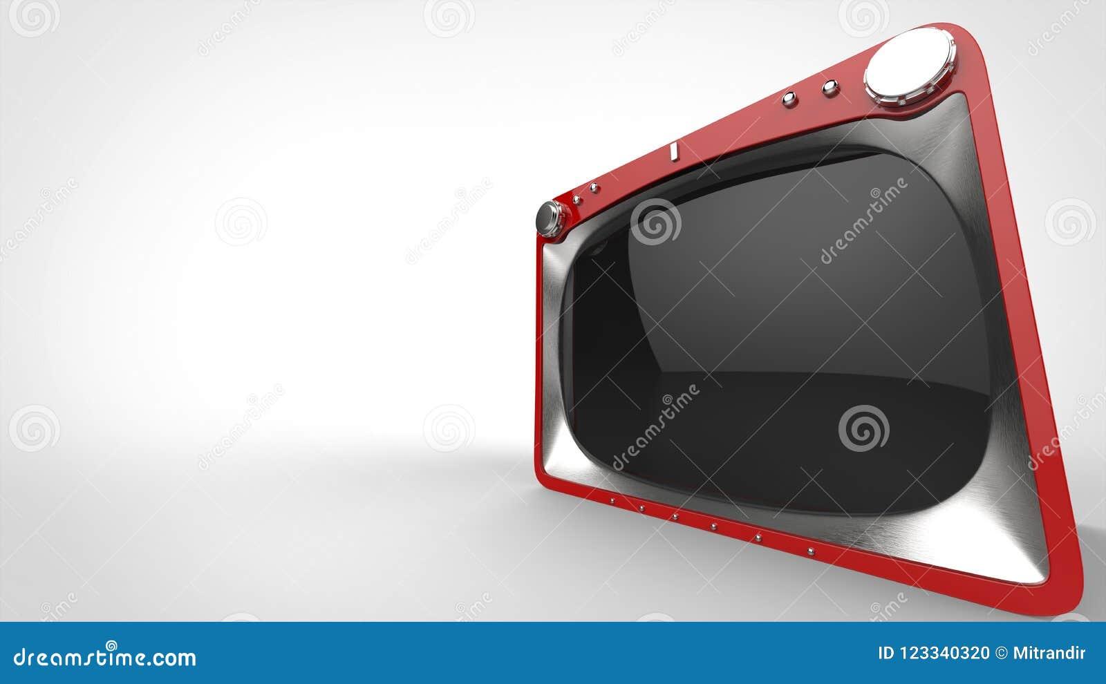 Röd retro TVuppsättning - brett vinkelcloseupskott