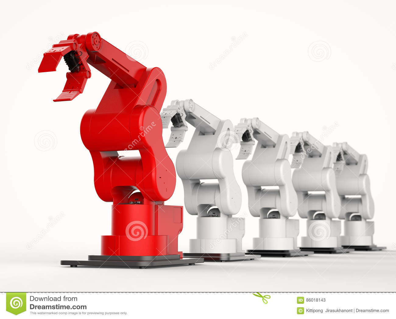 Röd robotic arm som en ledare