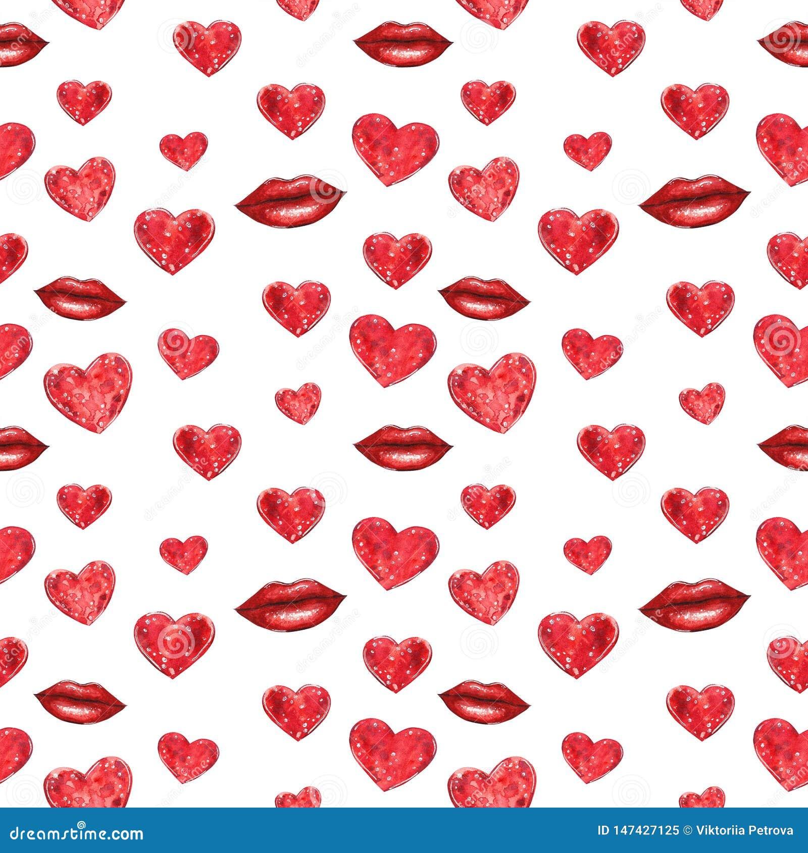Röd sömlös modell för hjärtor och för kanter, vattenfärgillustration