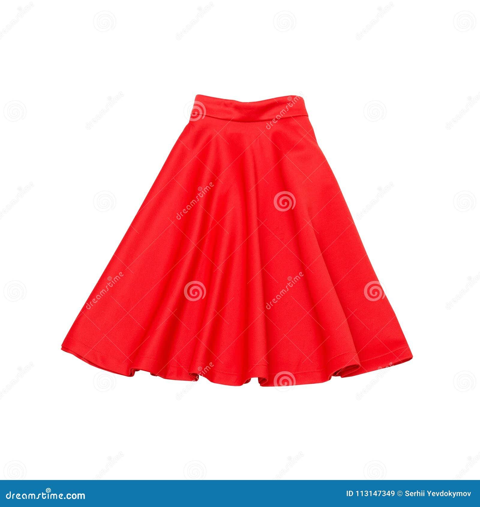 Röd skirt trendigt begrepp isolerat Vit bakgrund