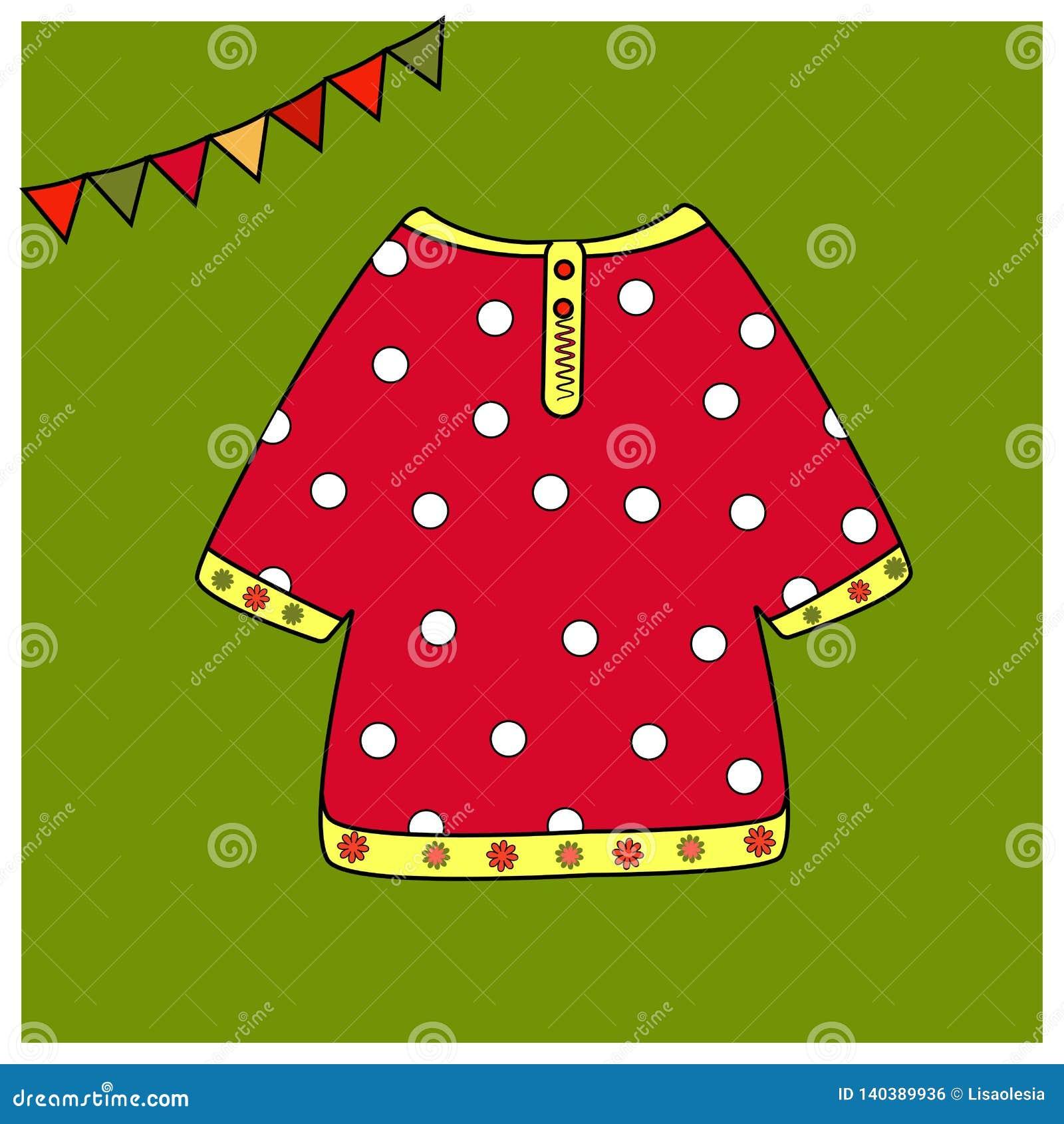 Röd skjorta i vita ärtor Rysk nationell dräkt för beståndsdelar Ganska attributfärgläggningbok eller utskriftskläder Bildande kor