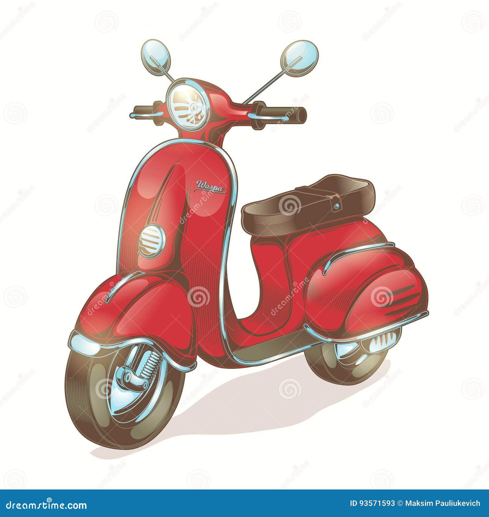 Röd sparkcykel för vektorfärgillustration som vara nedstämd