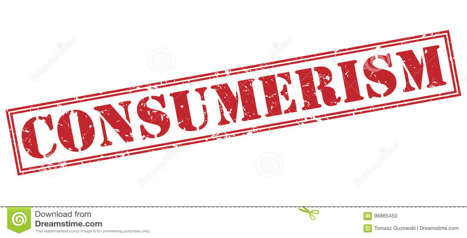 Röd stämpel för Consumerism