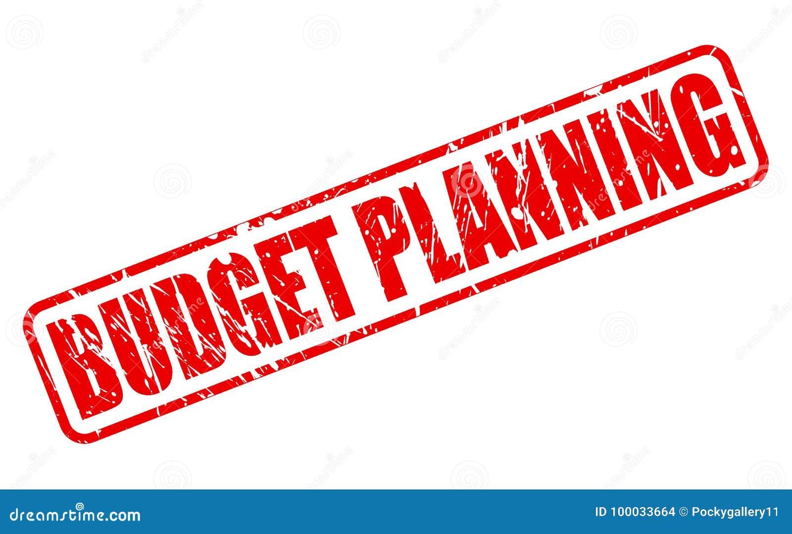 Röd stämpeltext för budget- planläggning