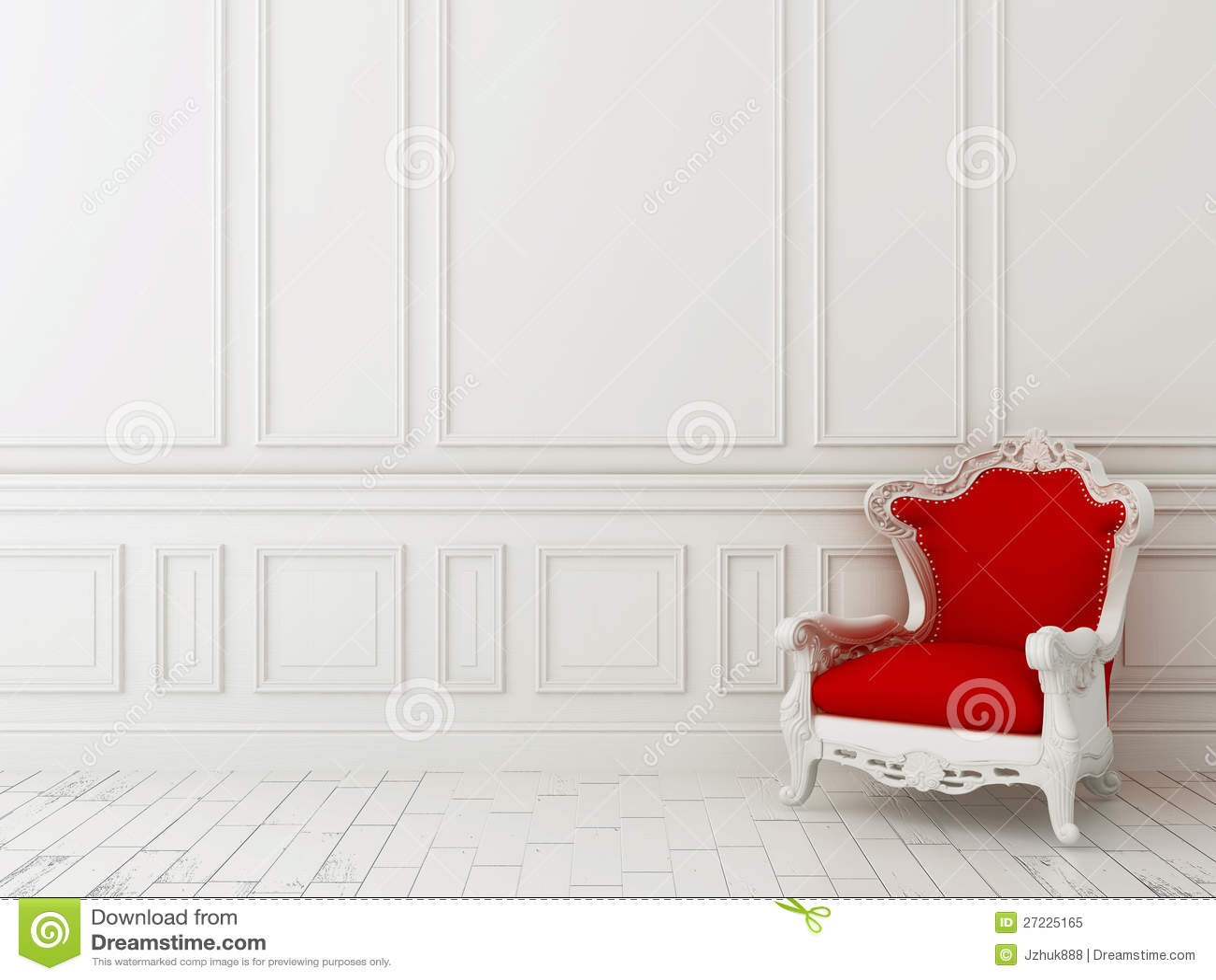 Röd stol mot en vit vägg
