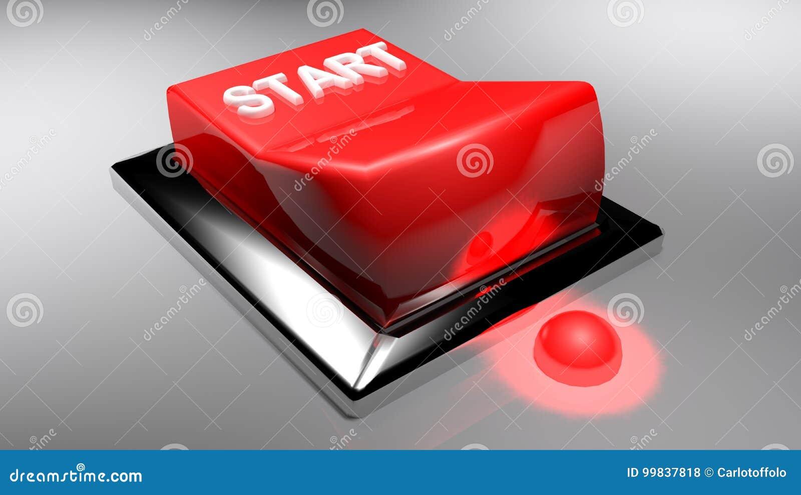 Röd strömbrytare som STARTAR - tolkningen 3D