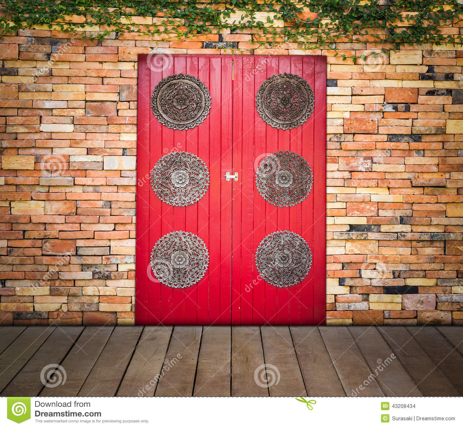 Download Röd Trädörr På Tegelstenväggen Arkivfoto - Bild av bygger, samtida: 43208434