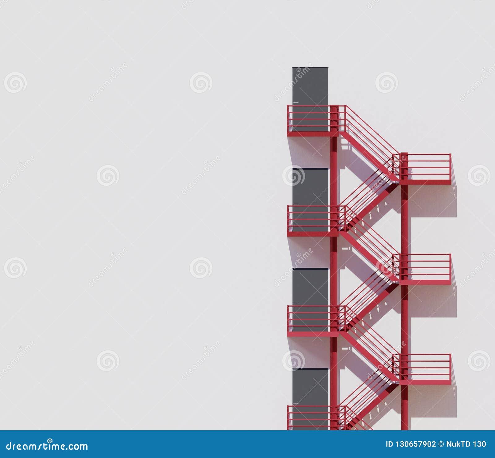 Röd trappa för minsta vägg för arkitekturbyggnad vit, tolkning 3d