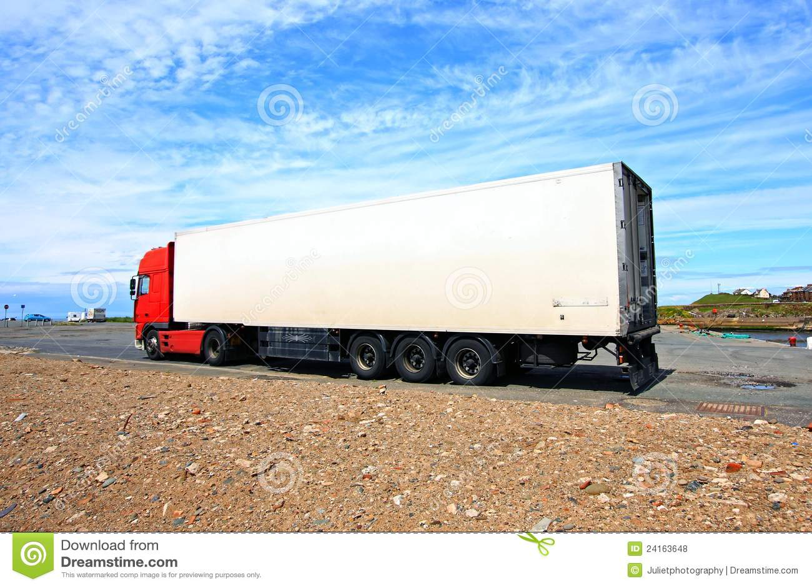 Röd white för stor lorry
