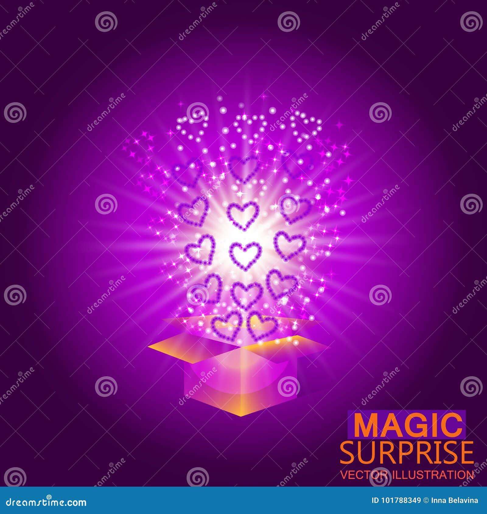 Röda askgåvahjärtor Magisk bakgrund med en överraskning uppfyllelse av lust Vektorillustration i violetta signaler