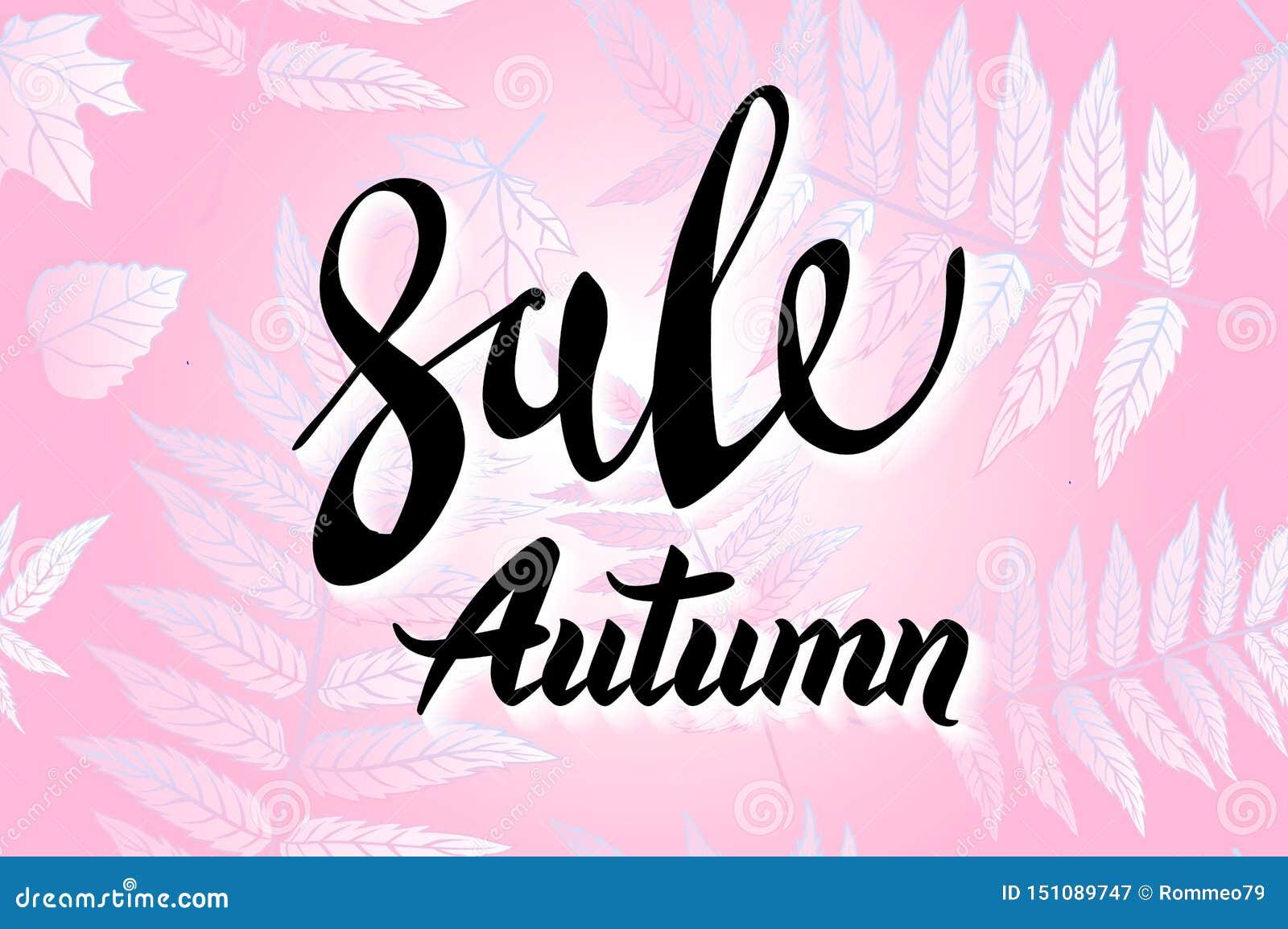 Röda Autumn Sale Background, utdragen höstkalligrafi för hand med det fallande sidor, rengöringsdukbanret och att shoppa försäljn