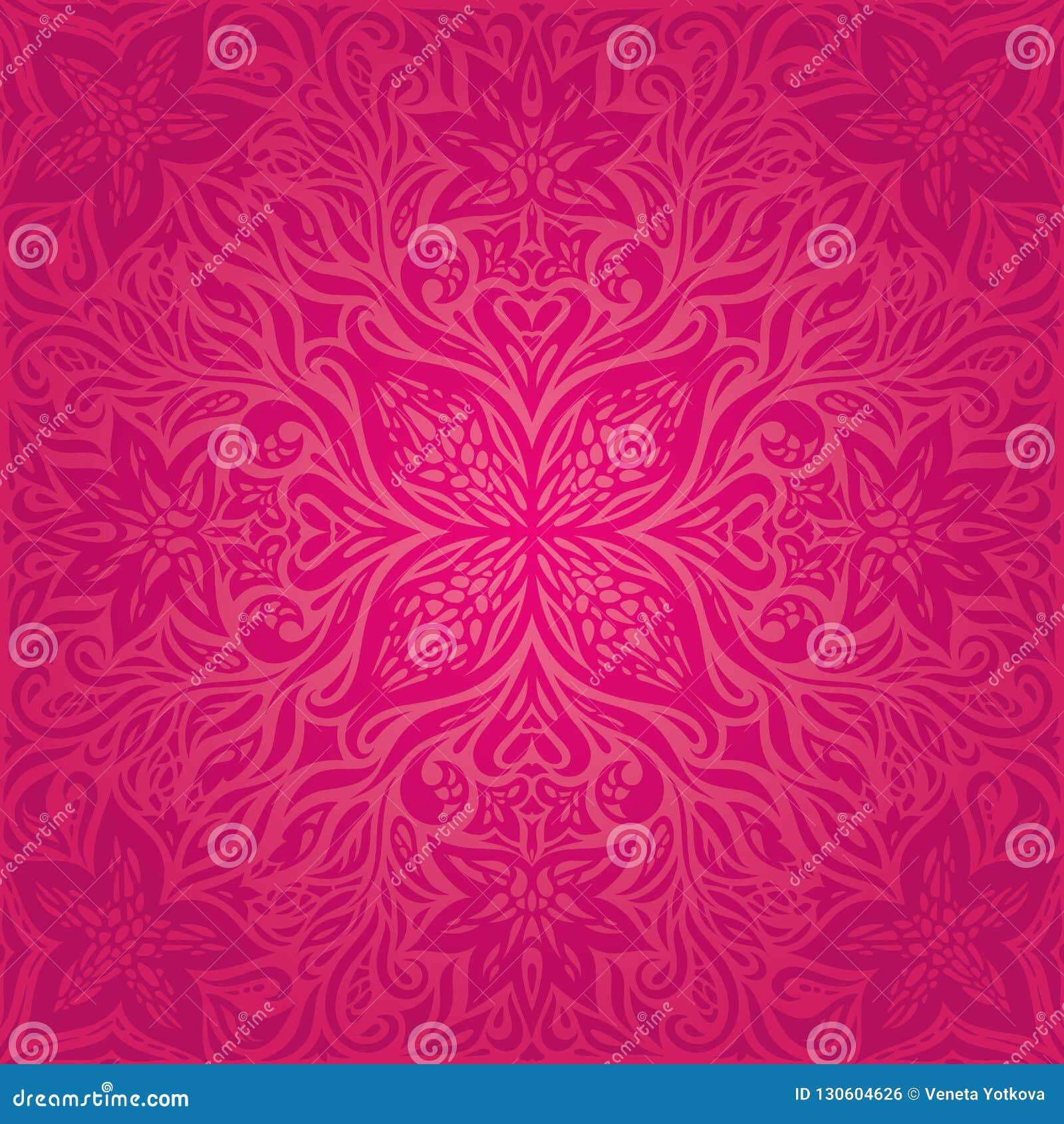 Röda blommor, ursnygg dekorativ blom- design för modebakgrundsmandala
