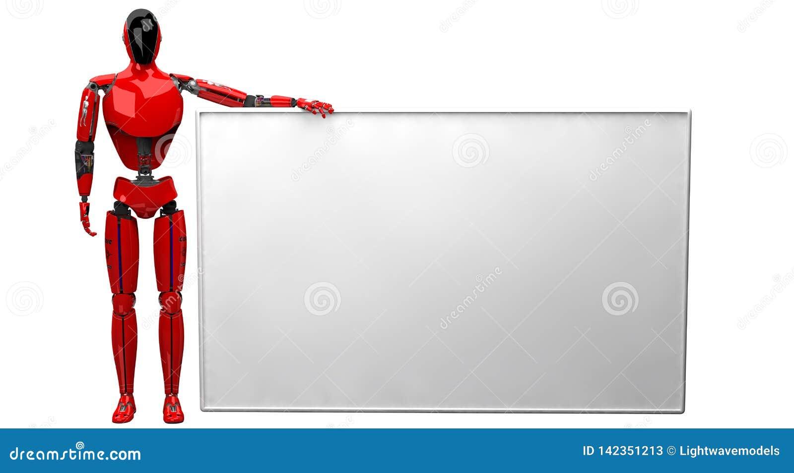 Röda Droid som rymmer den stora vita affischen på vit bakgrund