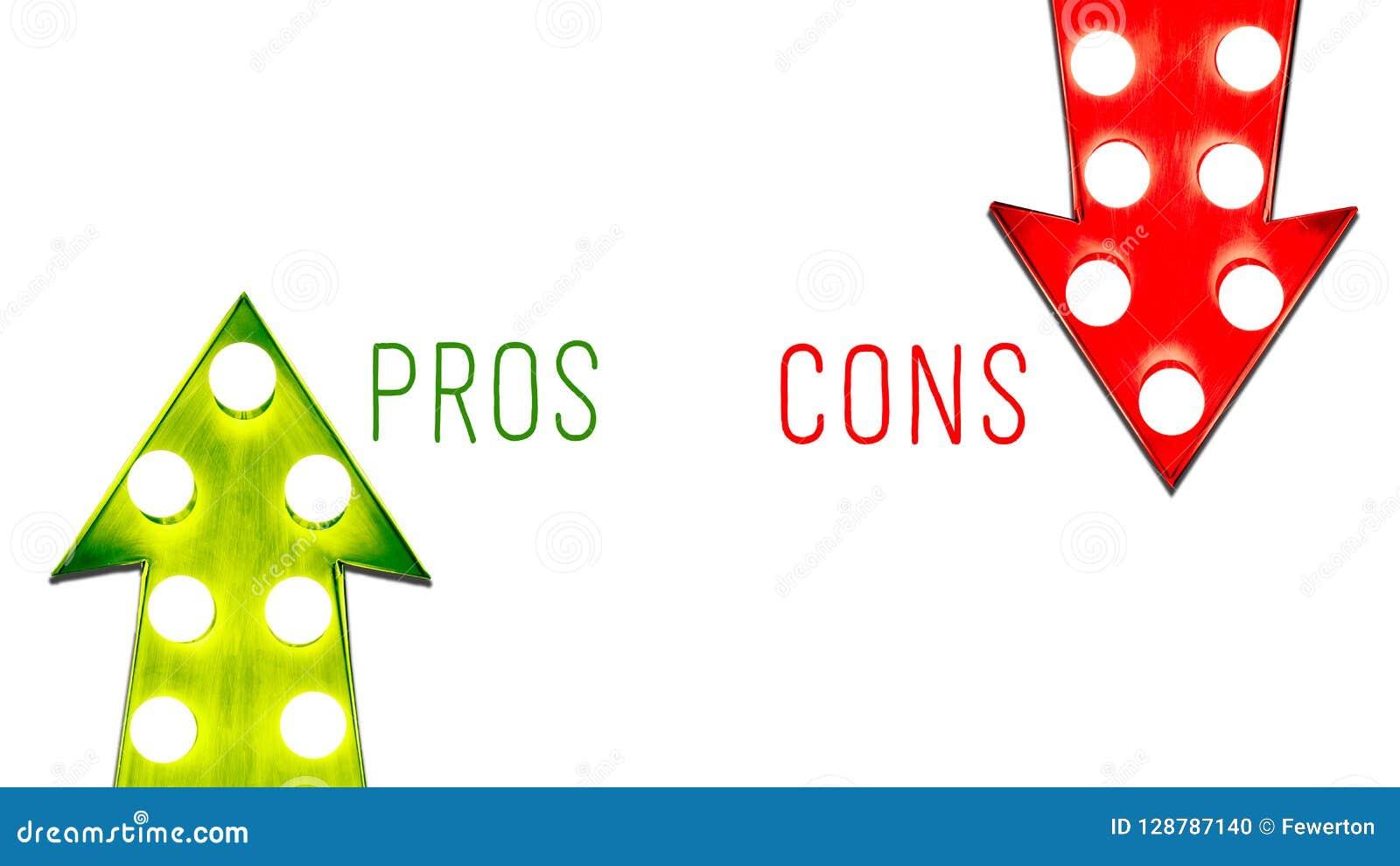 Röda för- och nackdelar och den gröna rätten lämnade upp ner kulor för retro pilar för tappning upplysta ljusa Begrepp för fördel